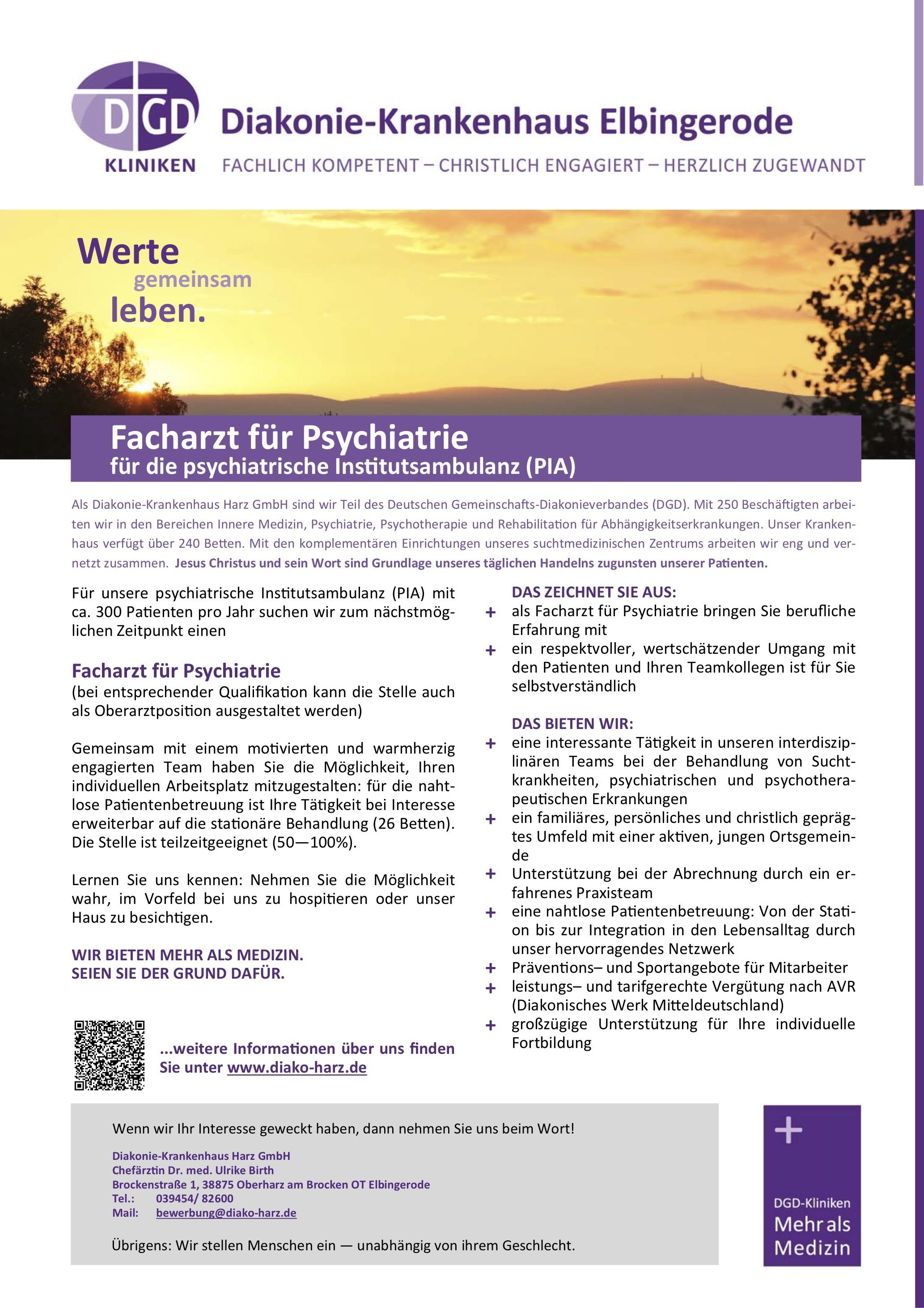 Facharzt für Psychiatrie für die psychiatrische Institutsambulanz (PIA)