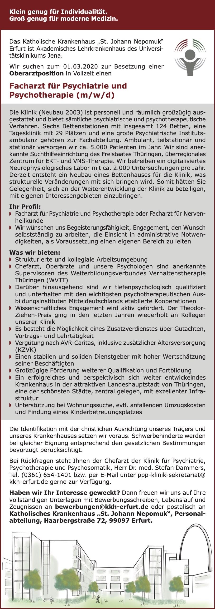 Facharzt für Psychiatrie und Psychotherapie (m/w/d)