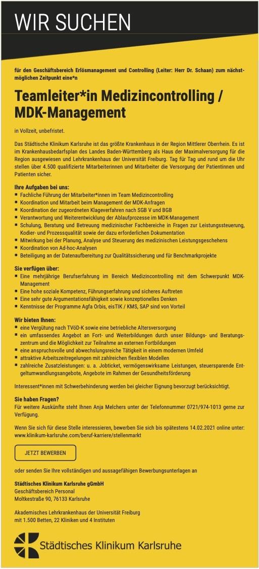 Teamleiter*in Medizincontrolling / MDK-Management