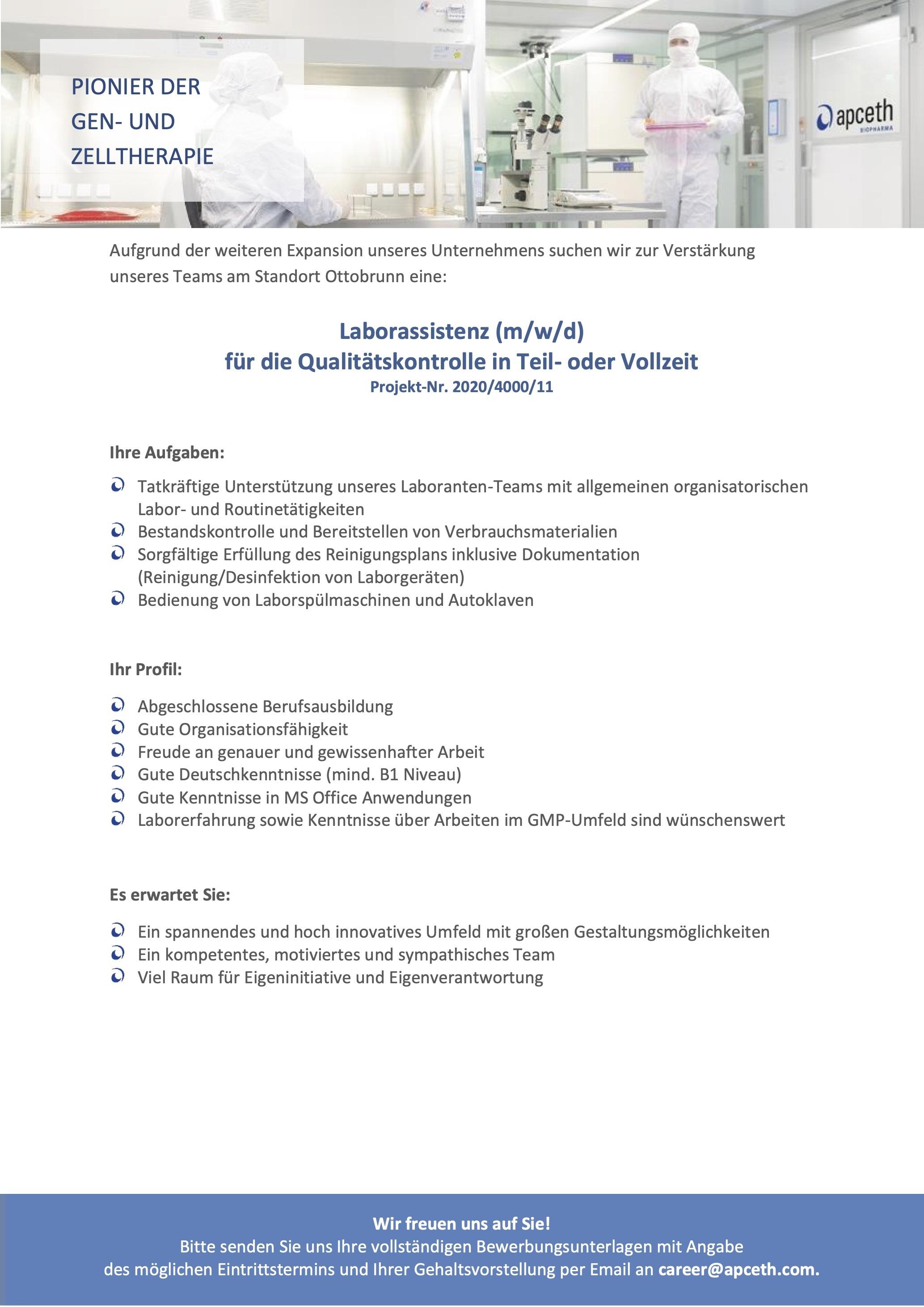 Laborassistenz (m/w/d) für die Qualitätskontrolle