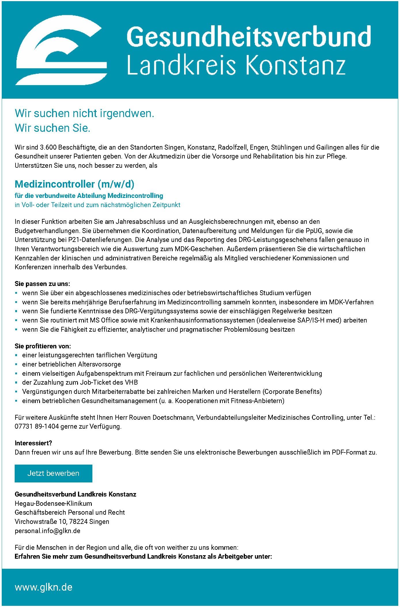 Medizincontroller (m/w/d)