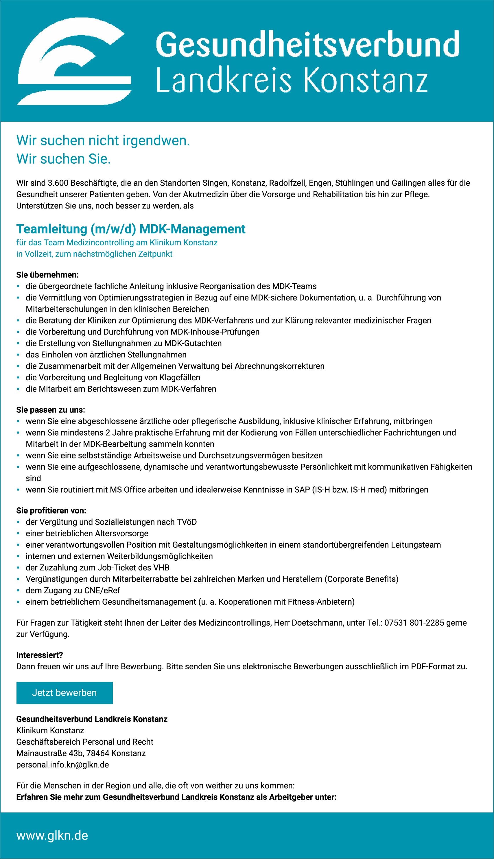 Teamleitung (m/w/d) MDK-Management für das Team Medizincontrolling am Klinikum Konstanz