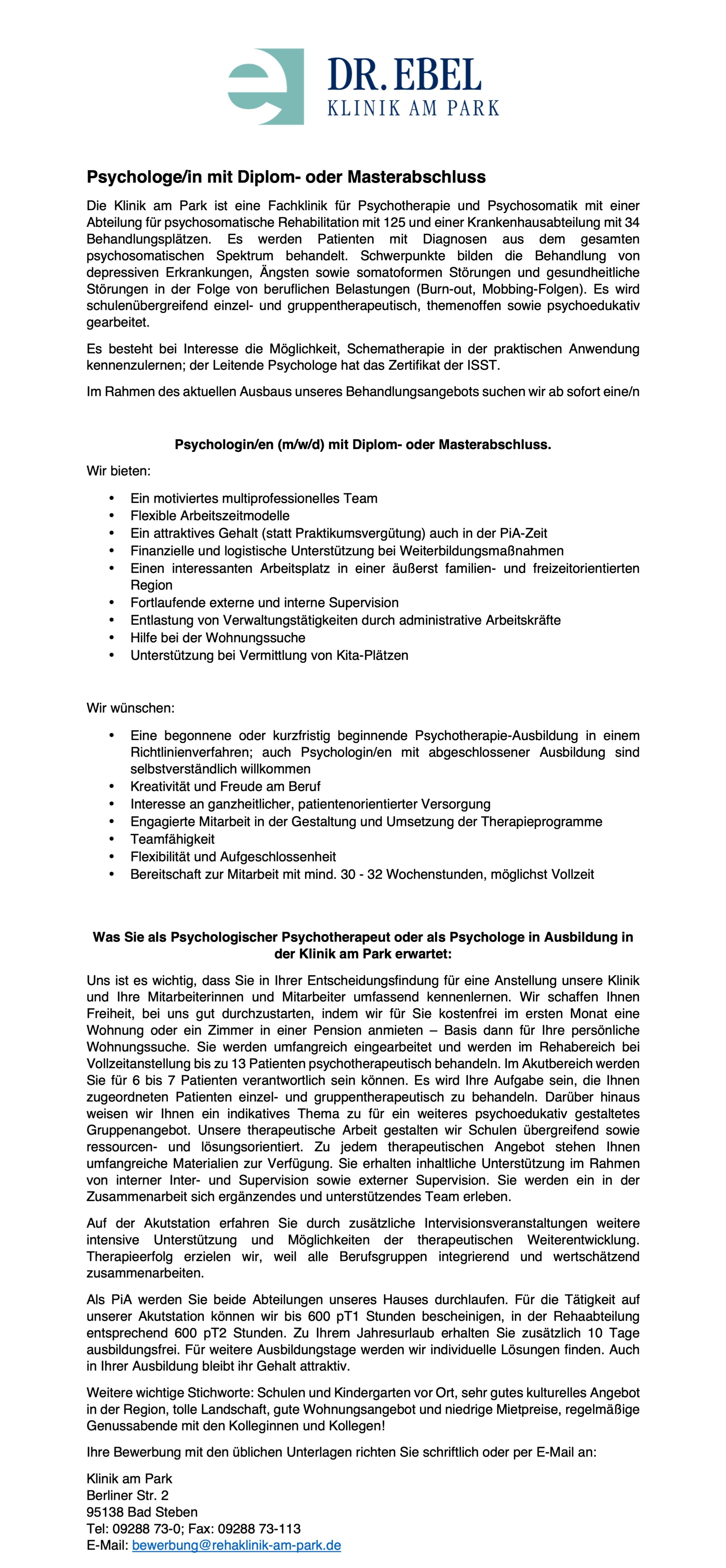 Psychologin/e (m/w/d) mit Diplom- oder Masterabschluss