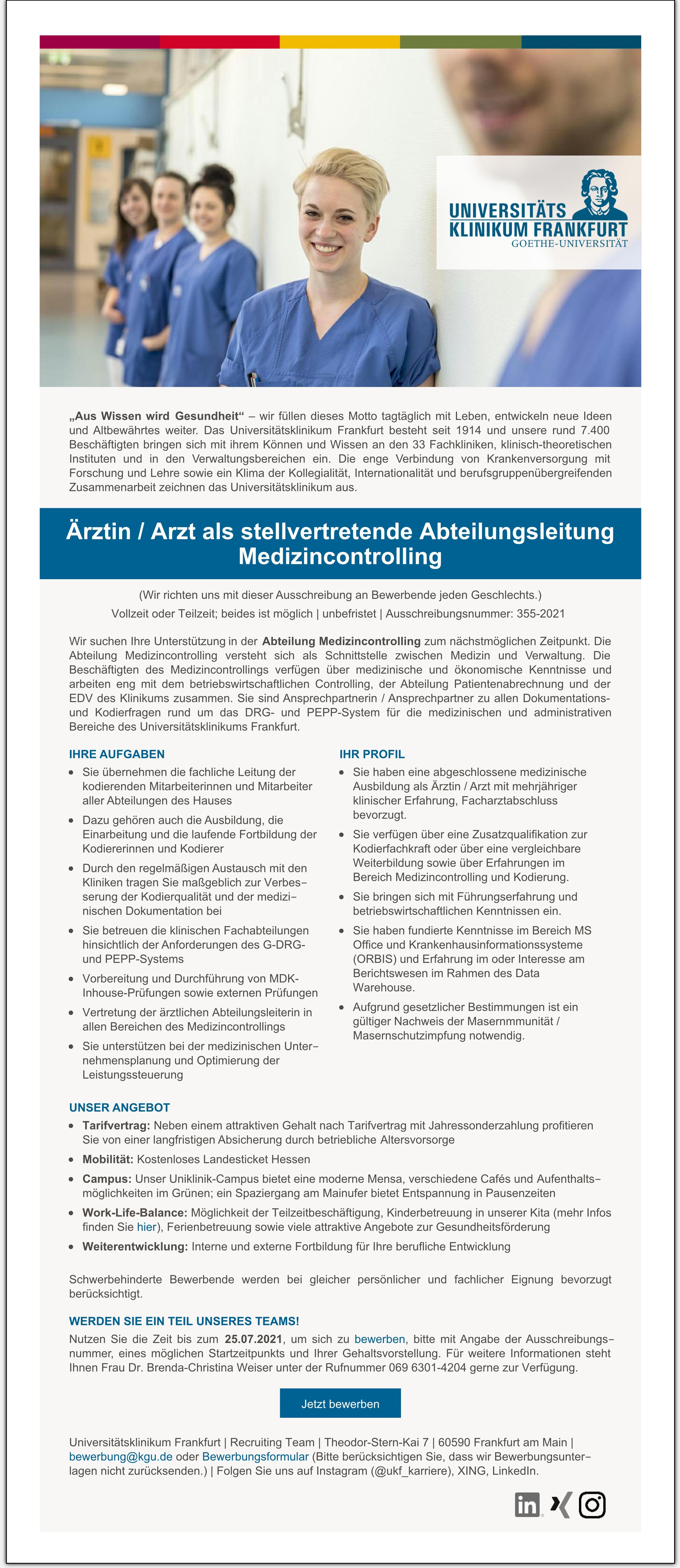 Ärztin / Arzt als stellvertretende Abteilungsleitung Medizincontrolling (w/m/d)