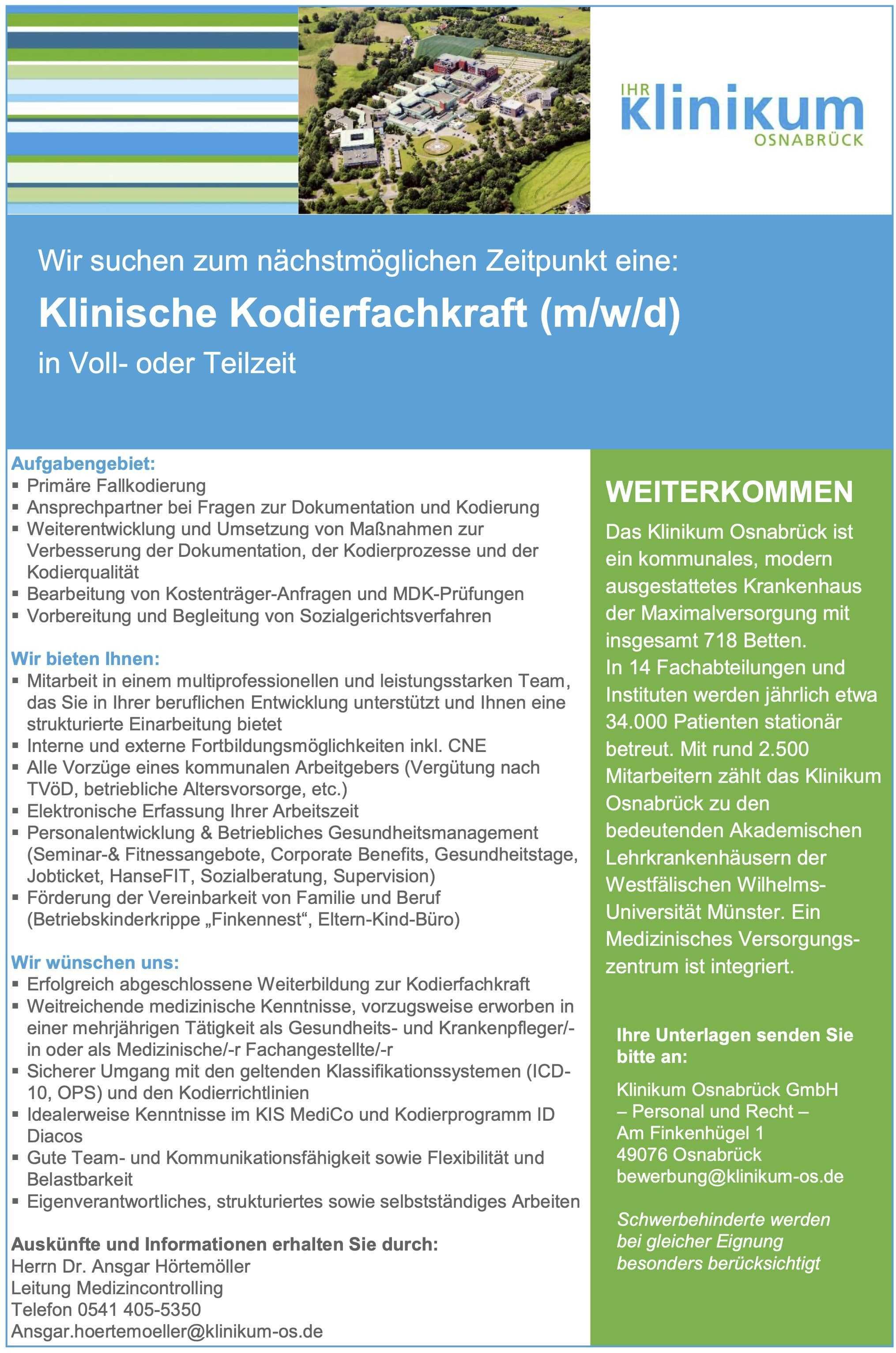 Klinische Kodierfachkraft (m/w/d)