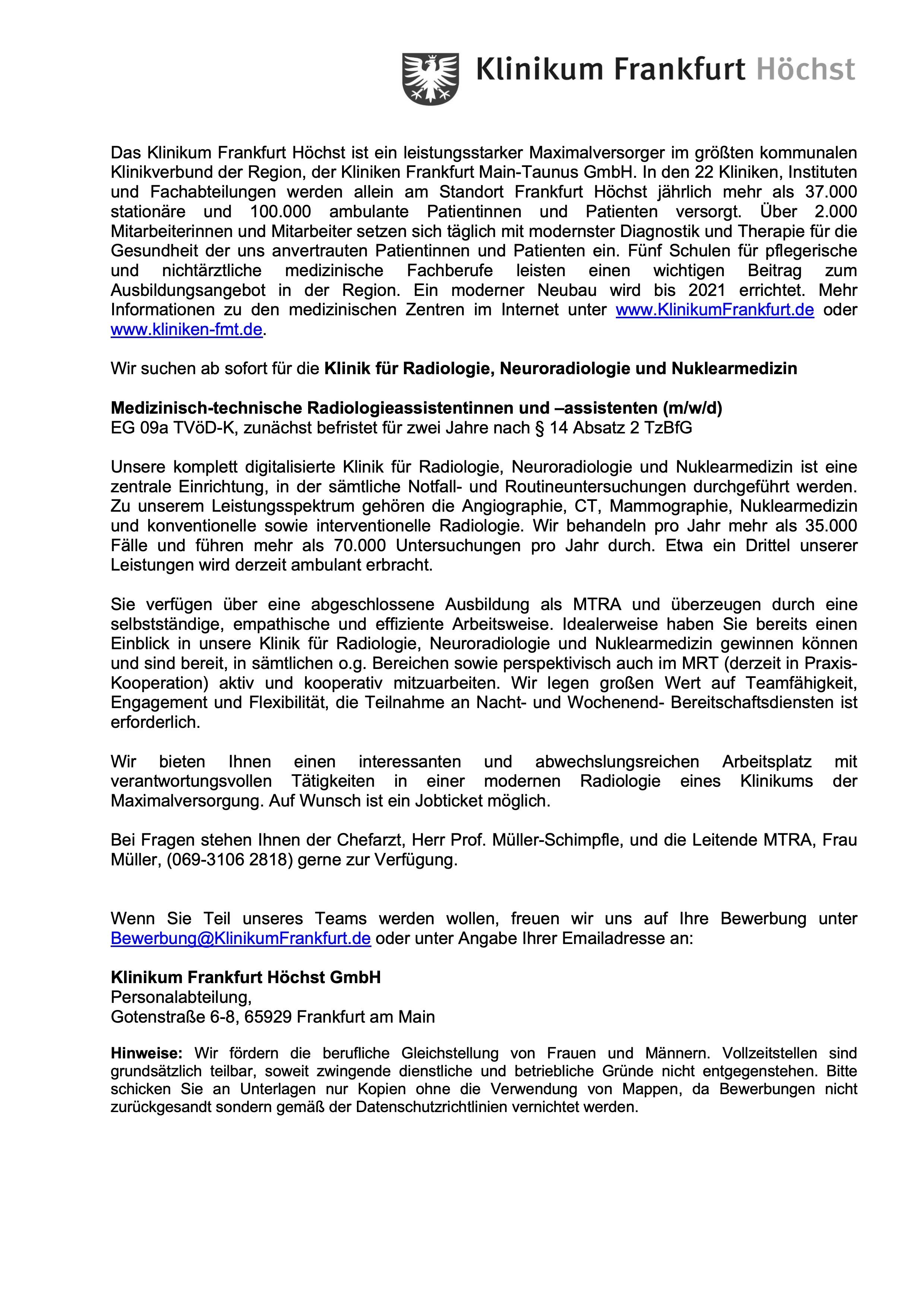Medizinisch-technische Radiologieassistentinnen und –assistenten (m/w/d)