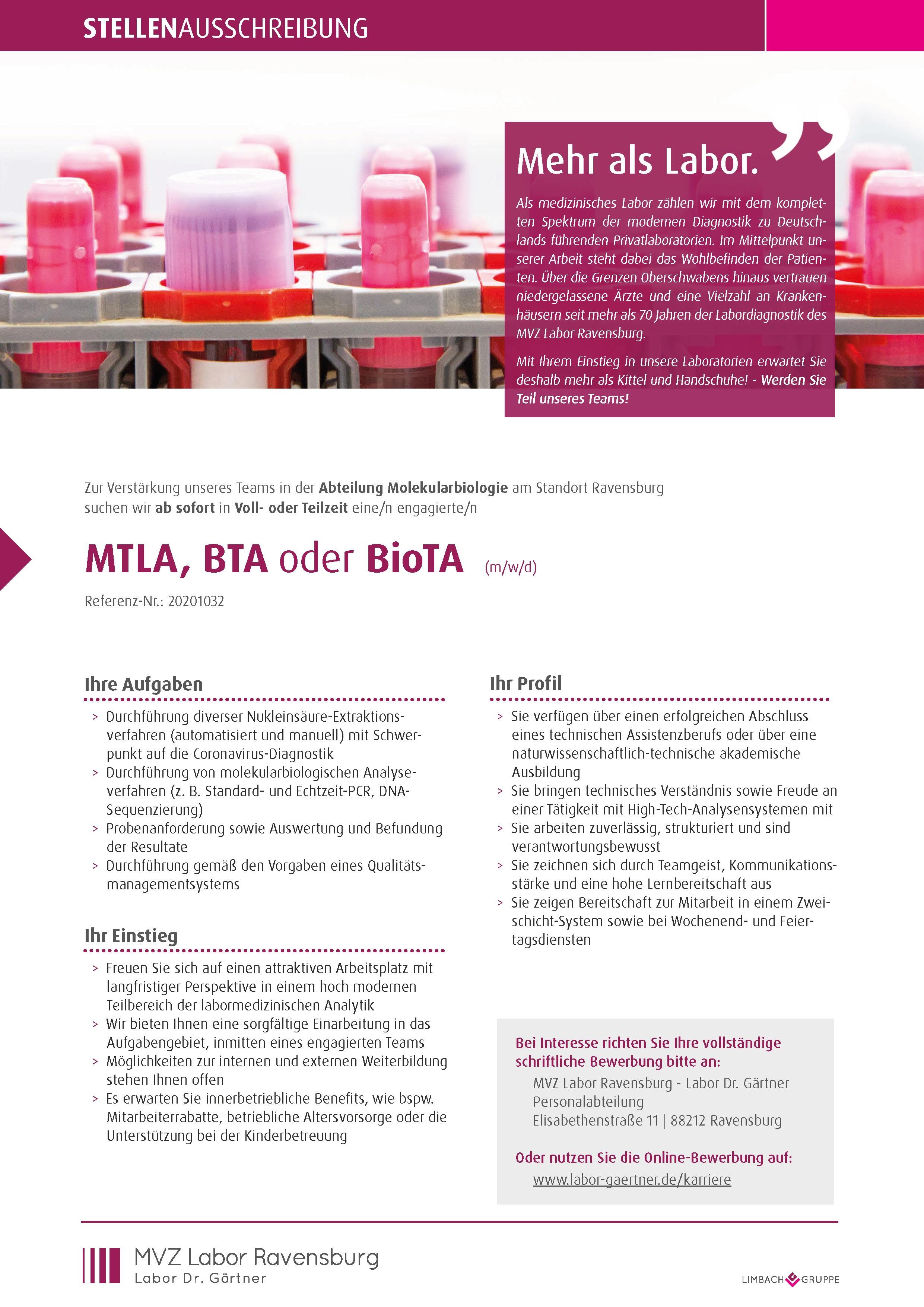 MTLA, BTA oder BioTA (m/w/d)