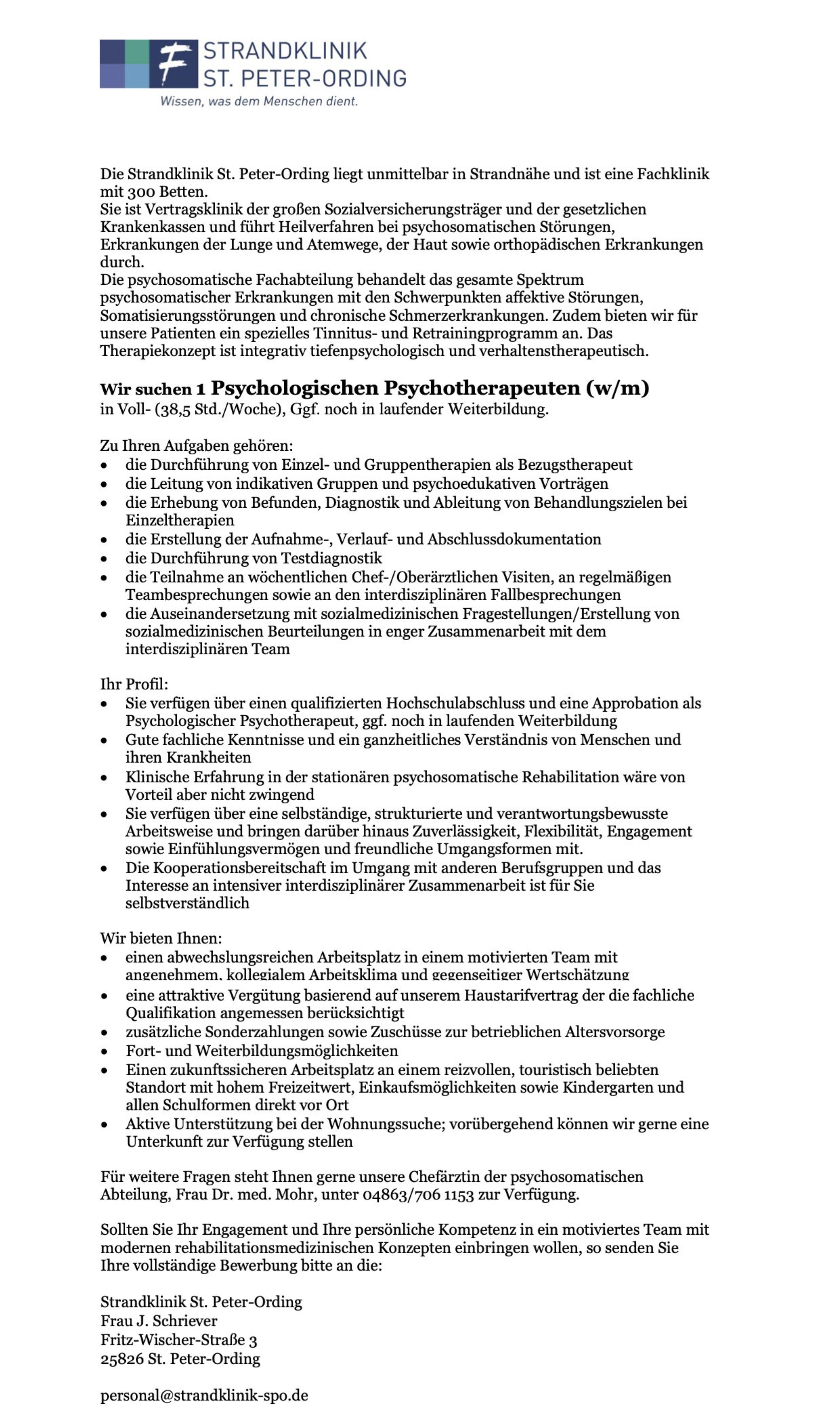 Psychologischen Psychotherapeuten (w/m/d)