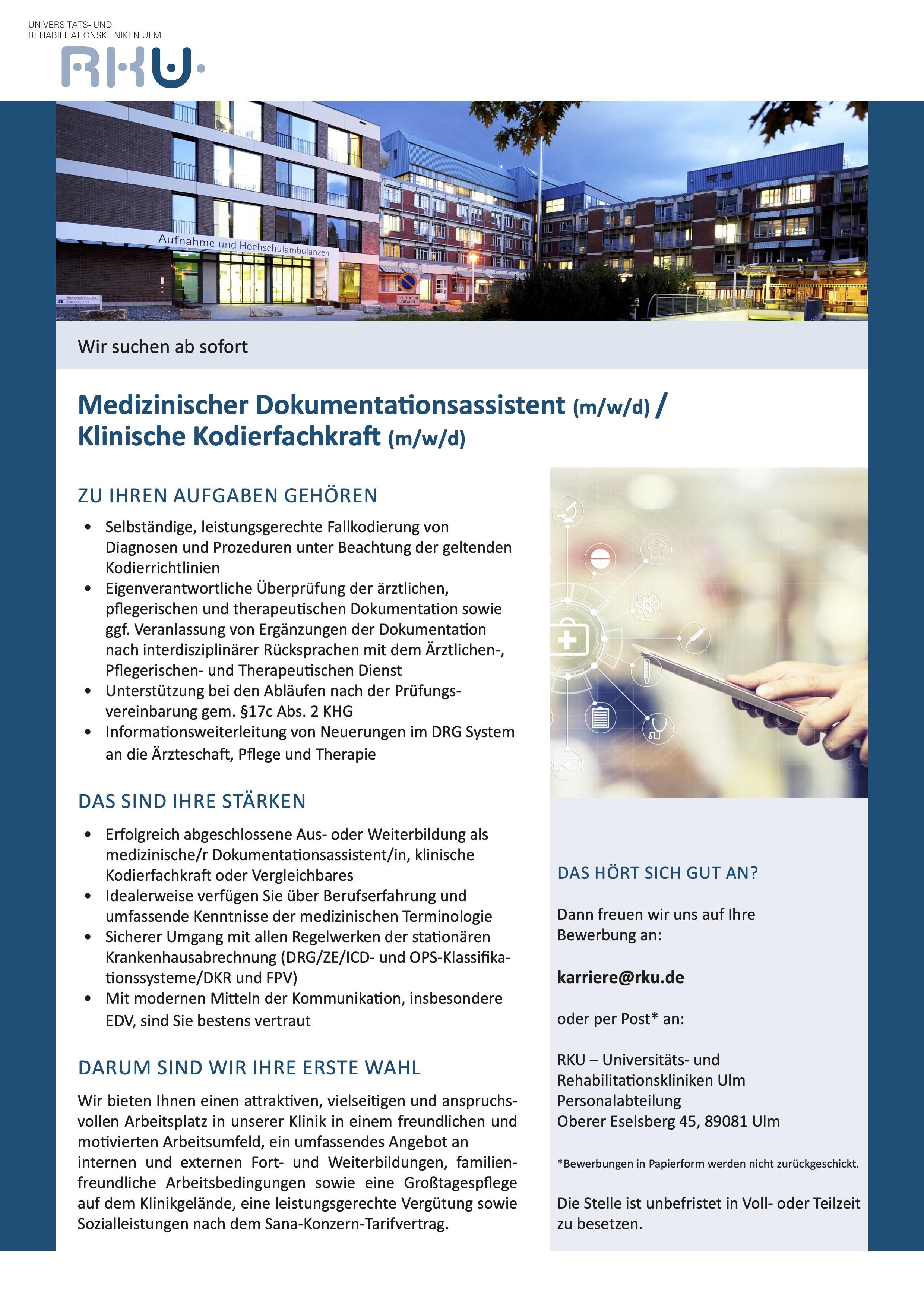 Medizinischer Dokumentationsassistent (m/w/d) / Klinische Kodierfachkraft (m/w/d)