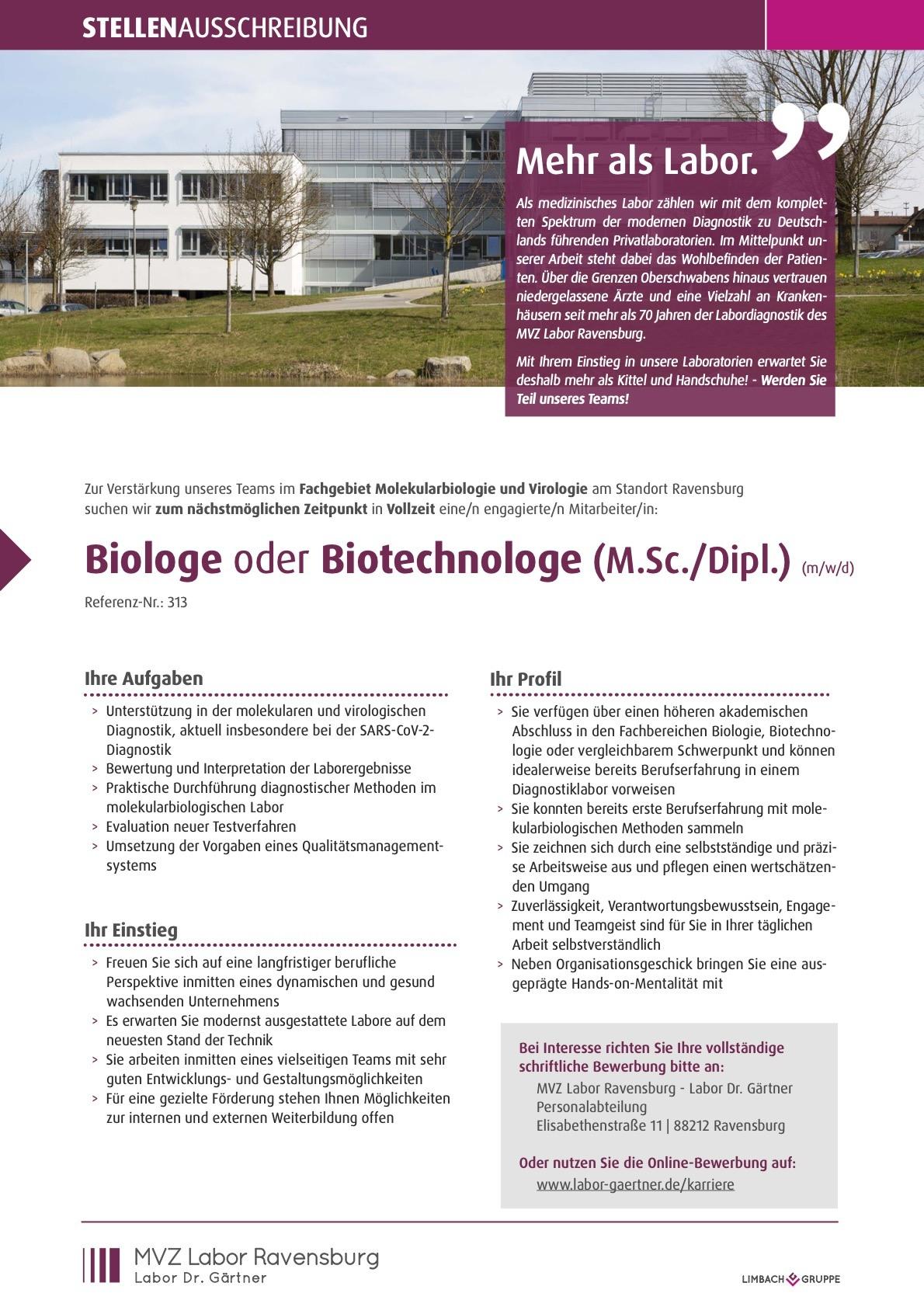 Biologe oder Biotechnologe (M.Sc./Dipl.) (m/w/d)