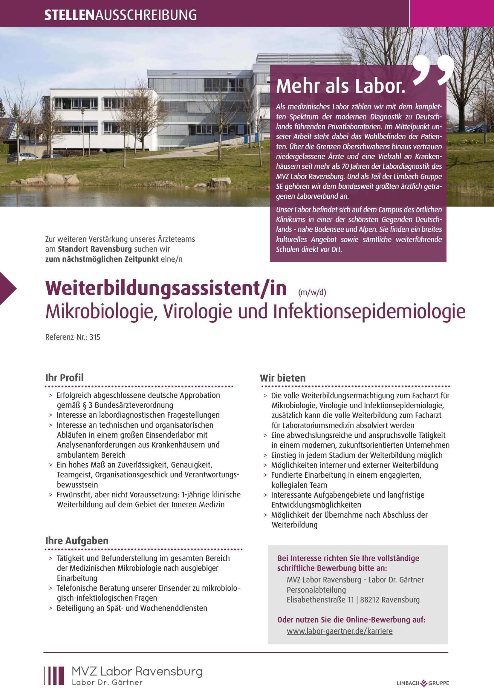 Weiterbildungsassistent/in (m/w/d) Mikrobiologie, Virologie und Infektionsepidemiologie
