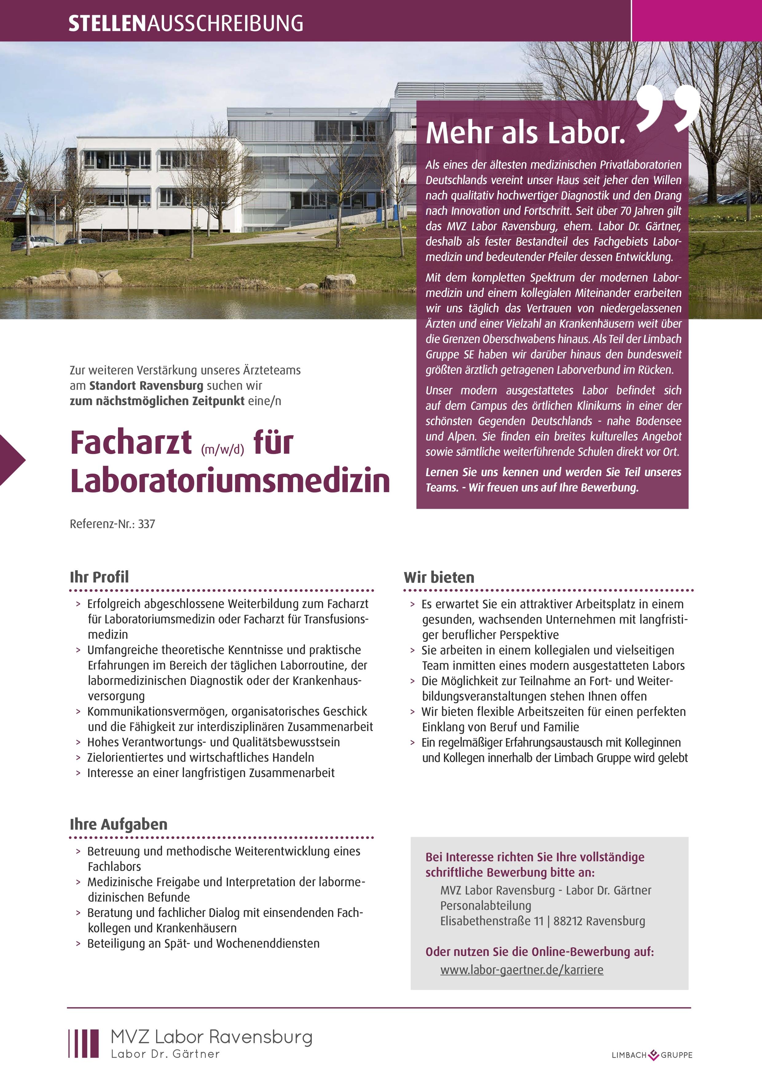 Facharzt (m/w/d) für Laboratoriumsmedizin