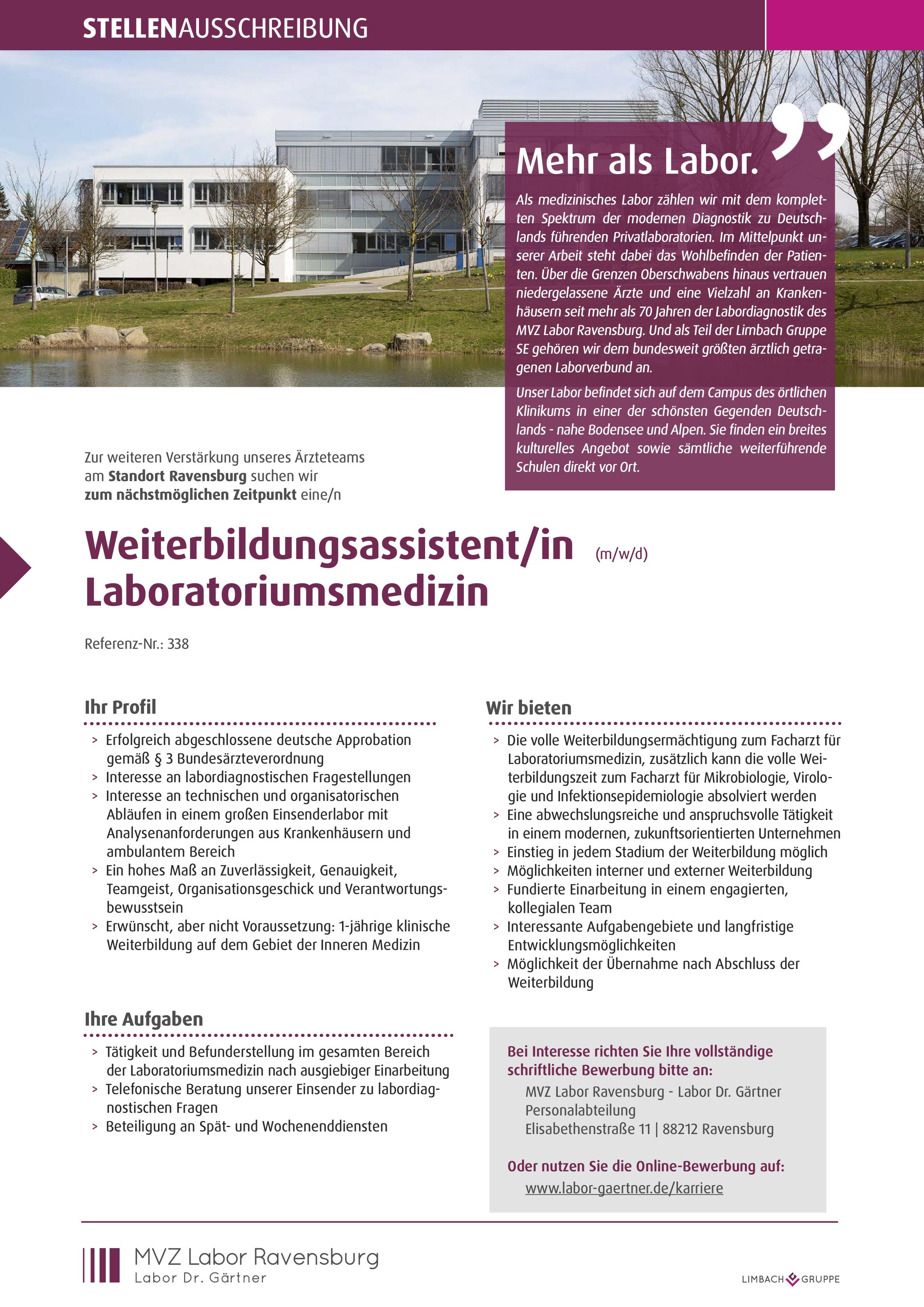 Weiterbildungsassistent/in (m/w/d) Laboratoriumsmedizin