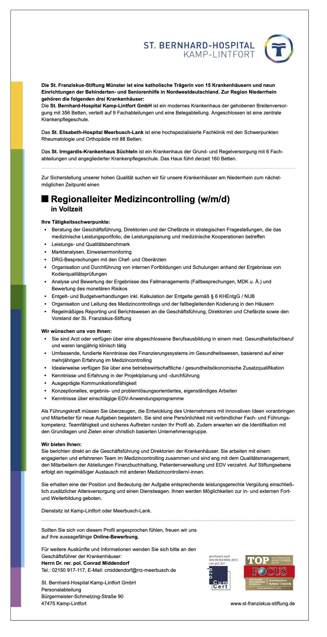 Regionalleiter Medizincontrolling (w/m/d)