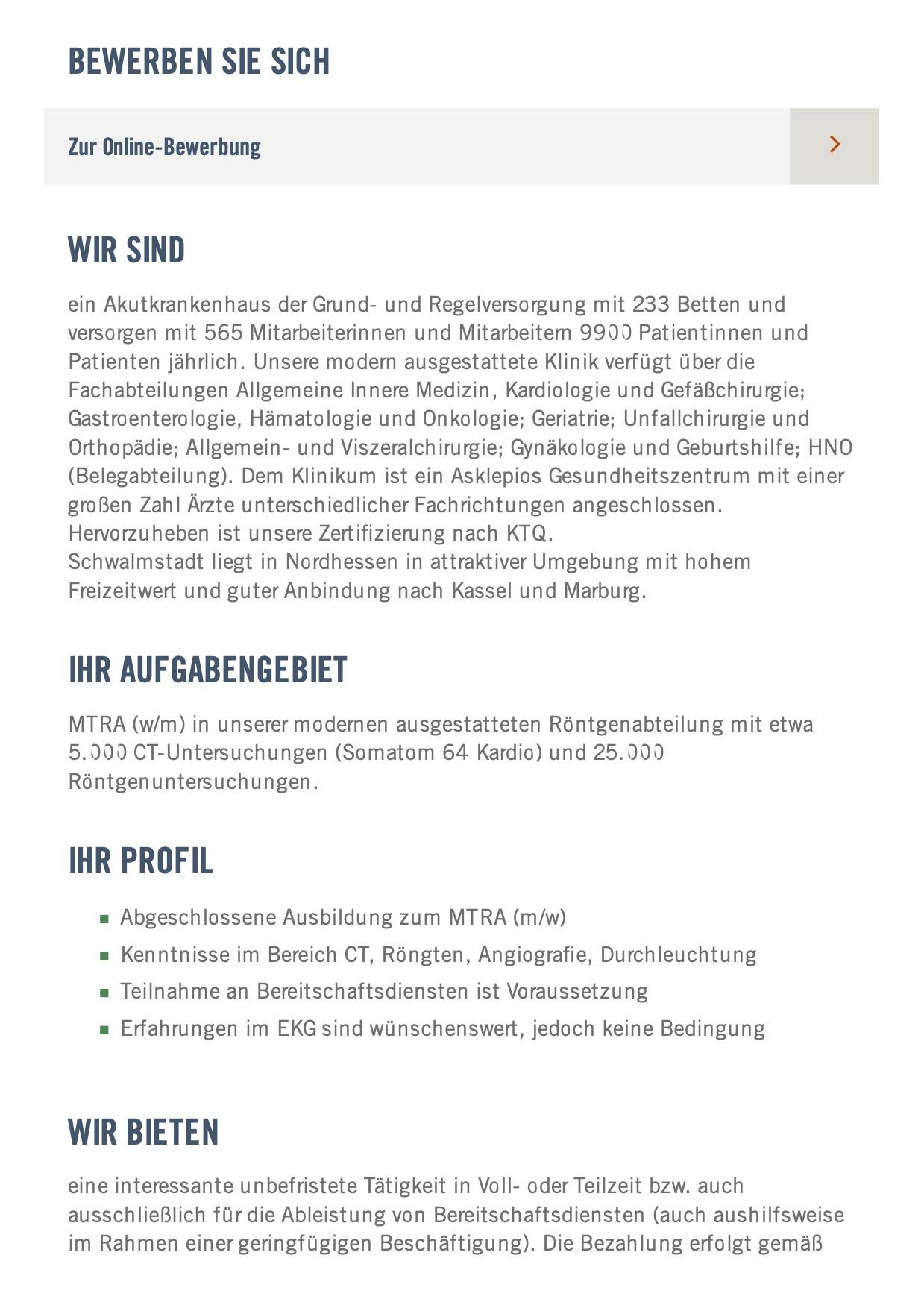 MTRA (w/m) am Standort Schwalmstadt
