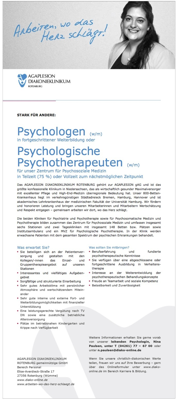 Psychologen (w/m) in fortgeschrittener Weiterbildung oder Psychologische Psychotherapeuten (w/m) für unser Zentrum für Psychosoziale Medizin