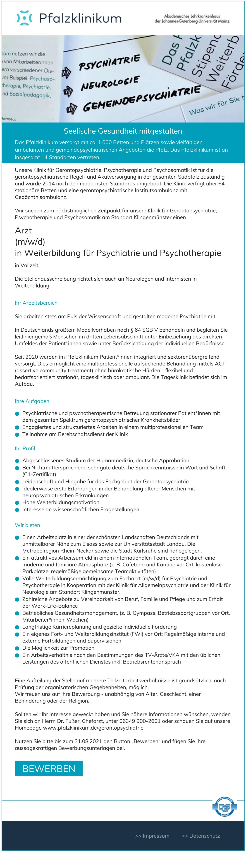 Arzt (m/w/d) in Weiterbildung für Psychiatrie und Psychotherapie