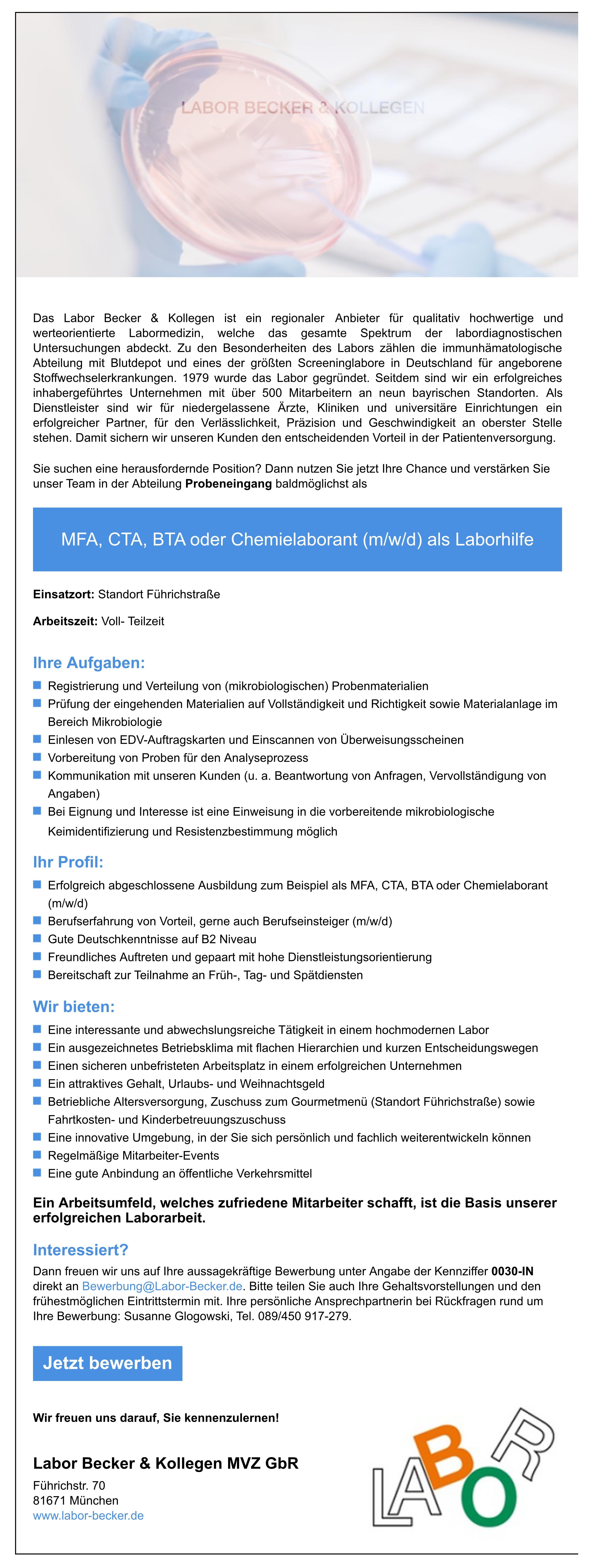 MFA, CTA, BTA oder Chemielaborant (m/w/d) als Laborhilfe