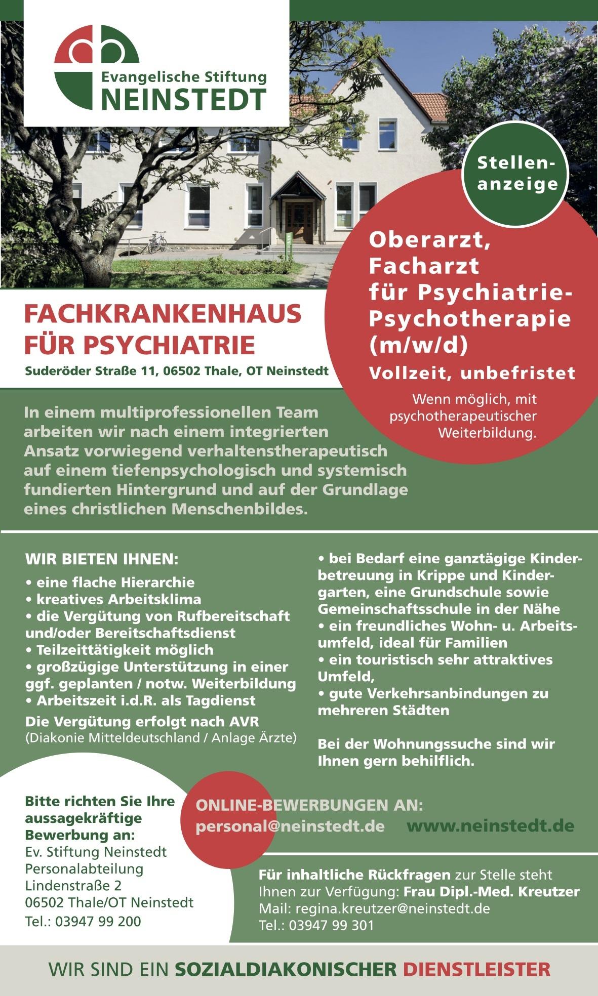 Oberarzt, Facharzt für Psychiatrie- Psychotherapie (m/w/d)