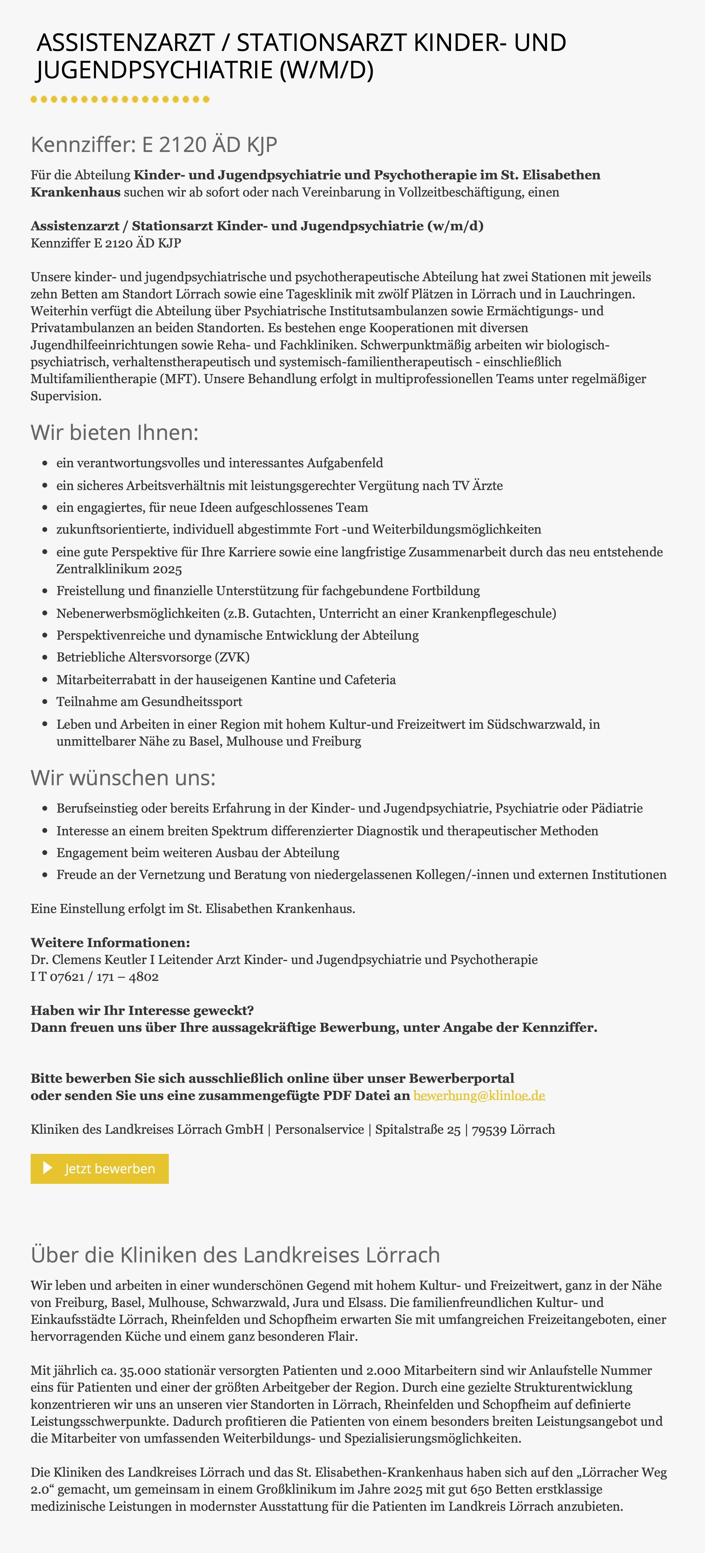 Assistenzarzt / Stationsarzt Kinder- und Jugendpsychiatrie (w/m/d)