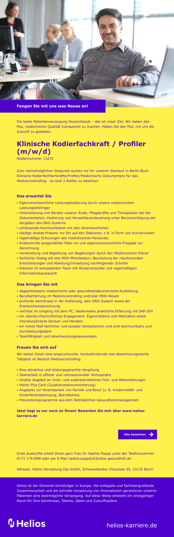 Klinische Kodierfachkraft / Profiler(m/w/d)
