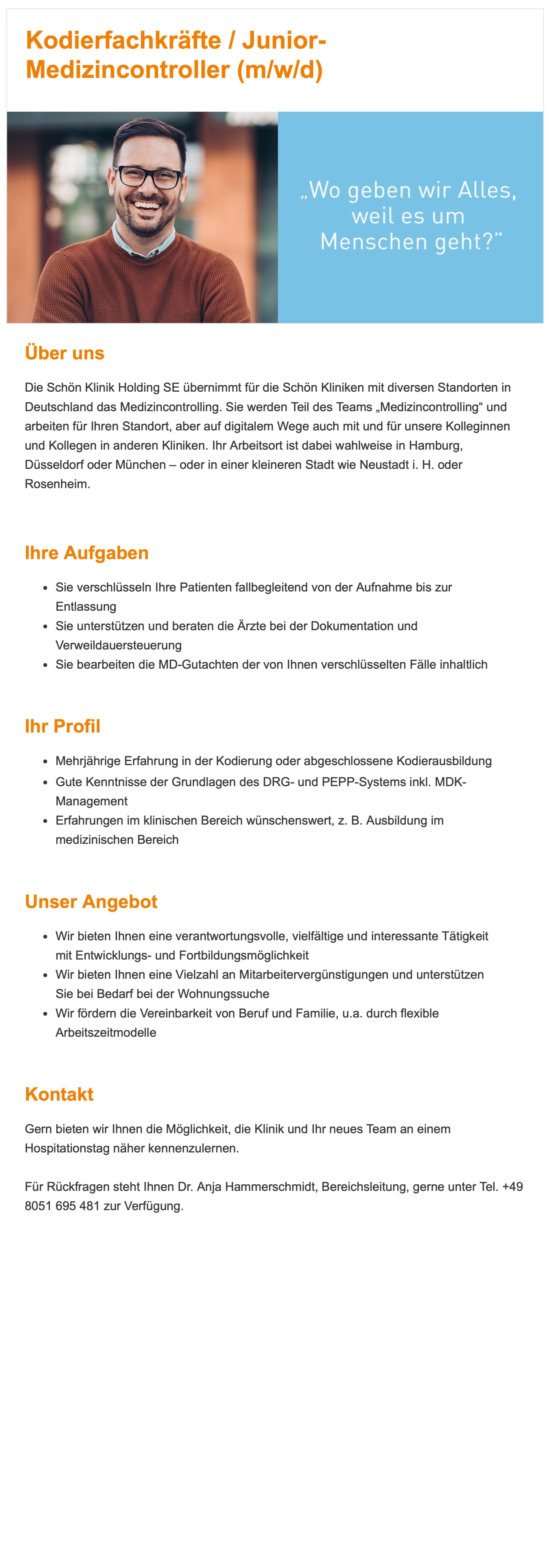 Kodierfachkräfte / Junior-Medizincontroller (m/w/d)