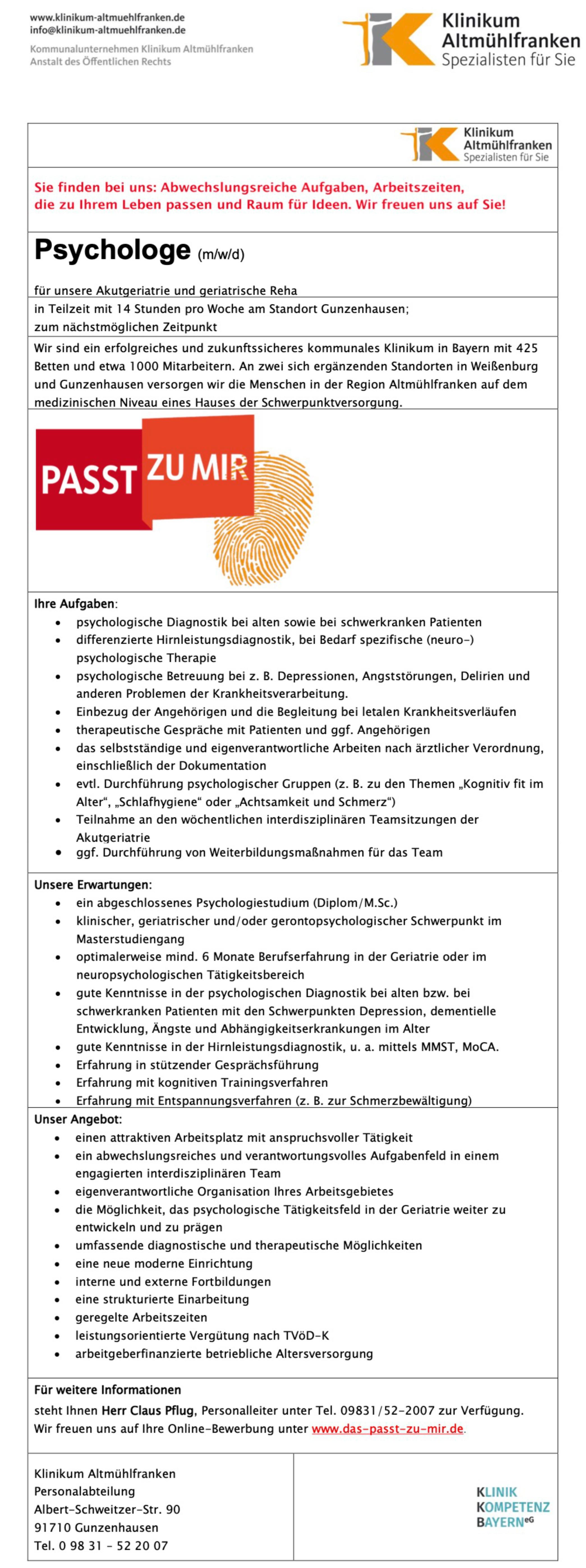 Psychologe (m/w/d) für unsere Akutgeriatrie und geriatrische Reha