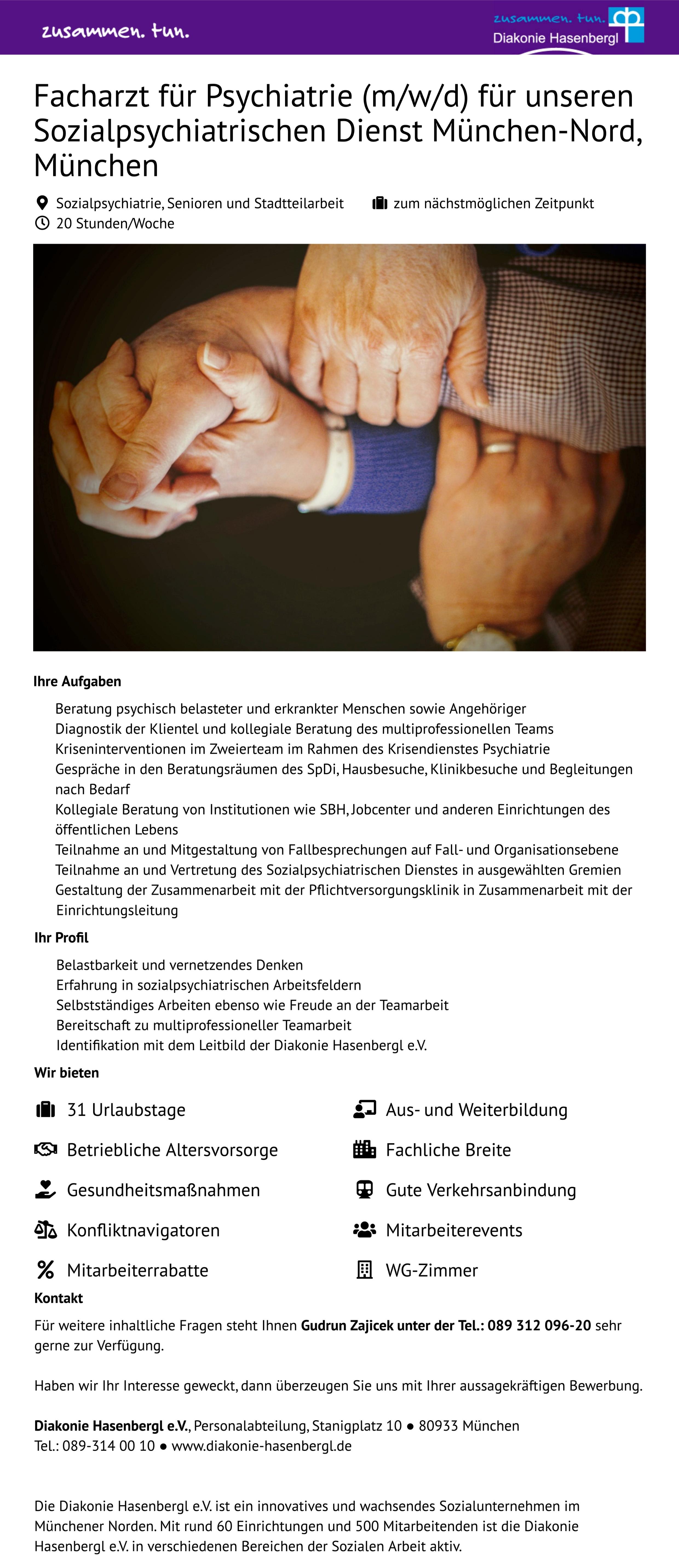 Facharzt für Psychiatrie (m/w/d) für unseren Sozialpsychiatrischen Dienst München-Nord, München