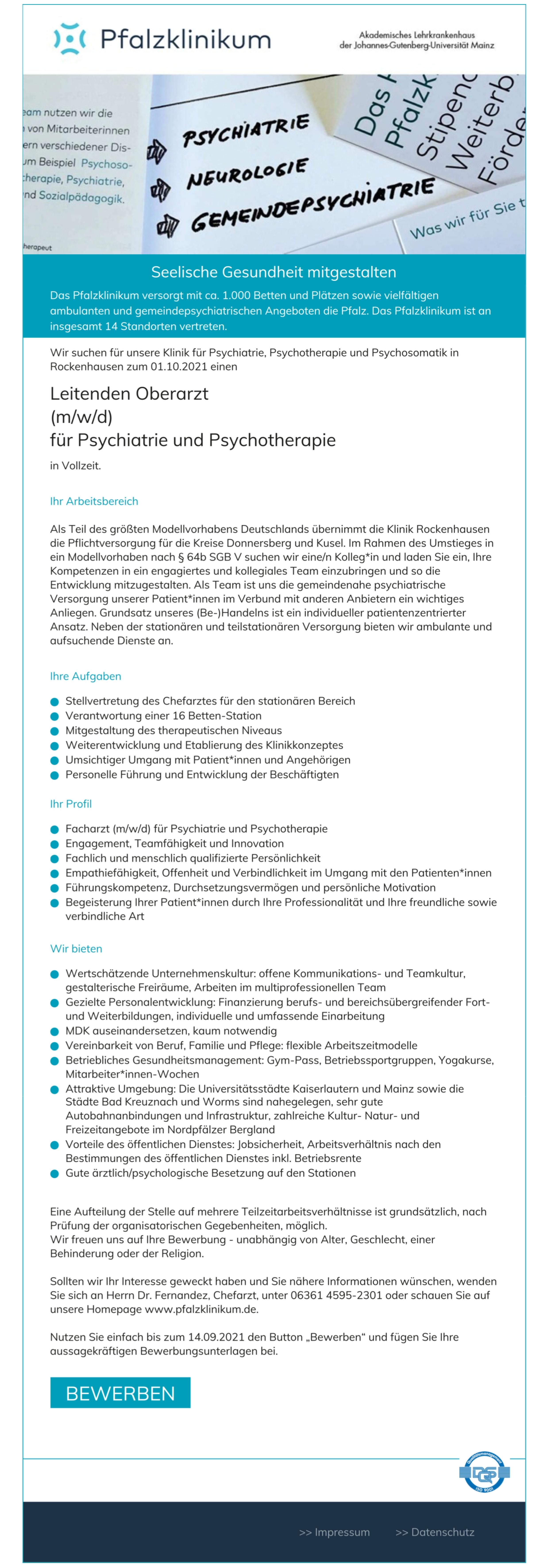 Leitender Oberarzt (m/w/d) für Psychiatrie und Psychotherapie
