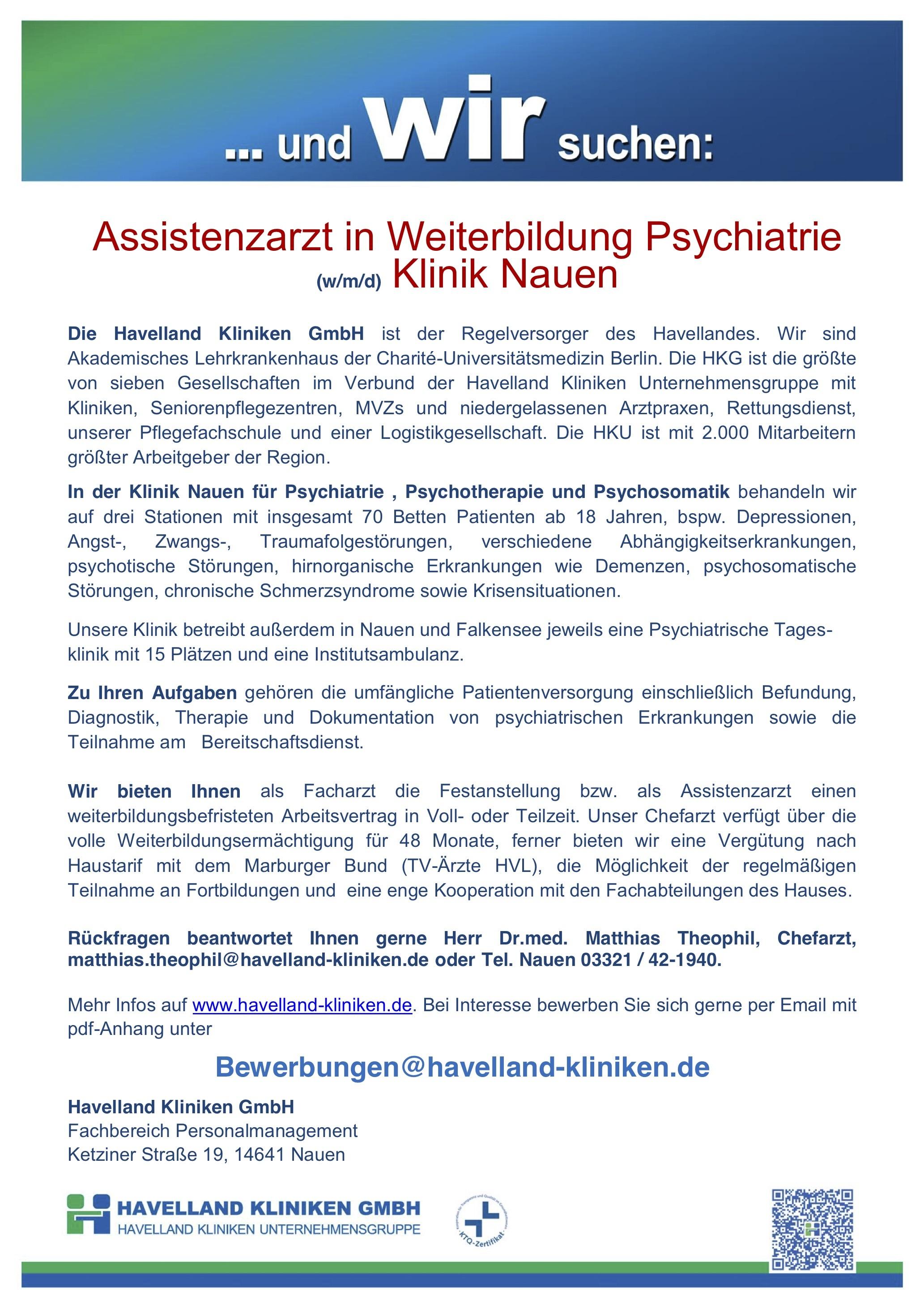 Assistenzarzt in Weiterbildung Psychiatrie (w/m/d) Klinik Nauen