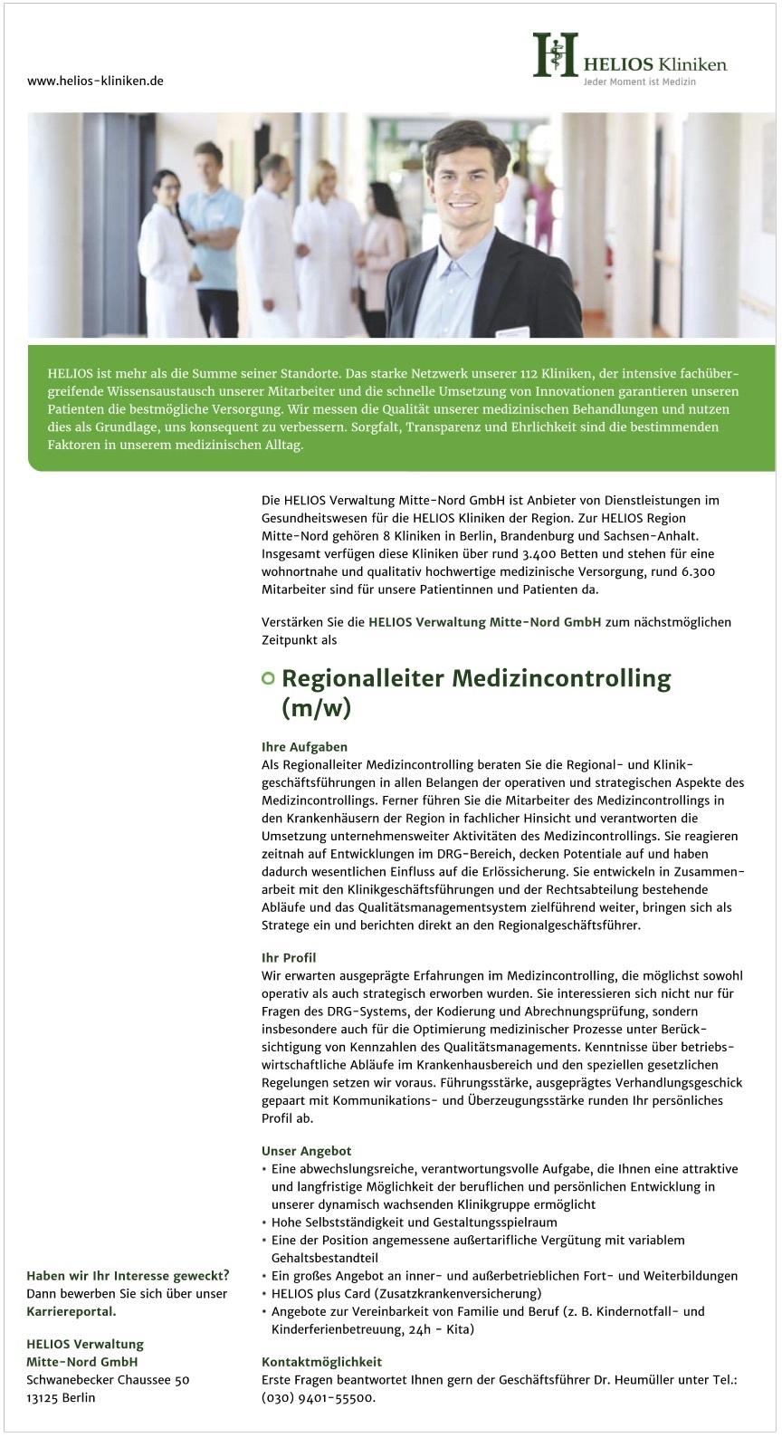 Regionalleiter Medizincontrolling (m/w)