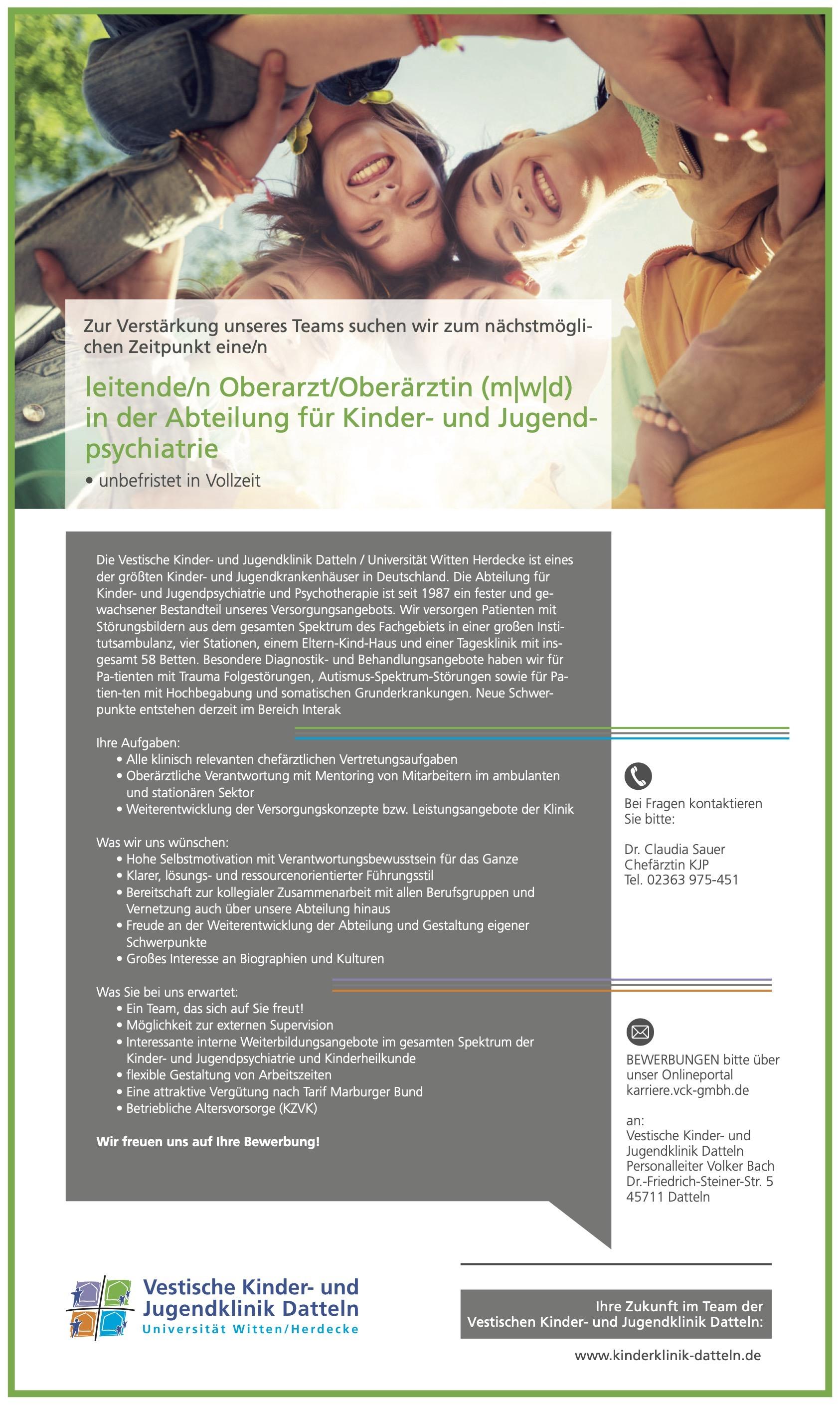 Leitende/r Oberarzt/Oberärztin (m w d) in der Abteilung für Kinder- und Jugendpsychiatrie