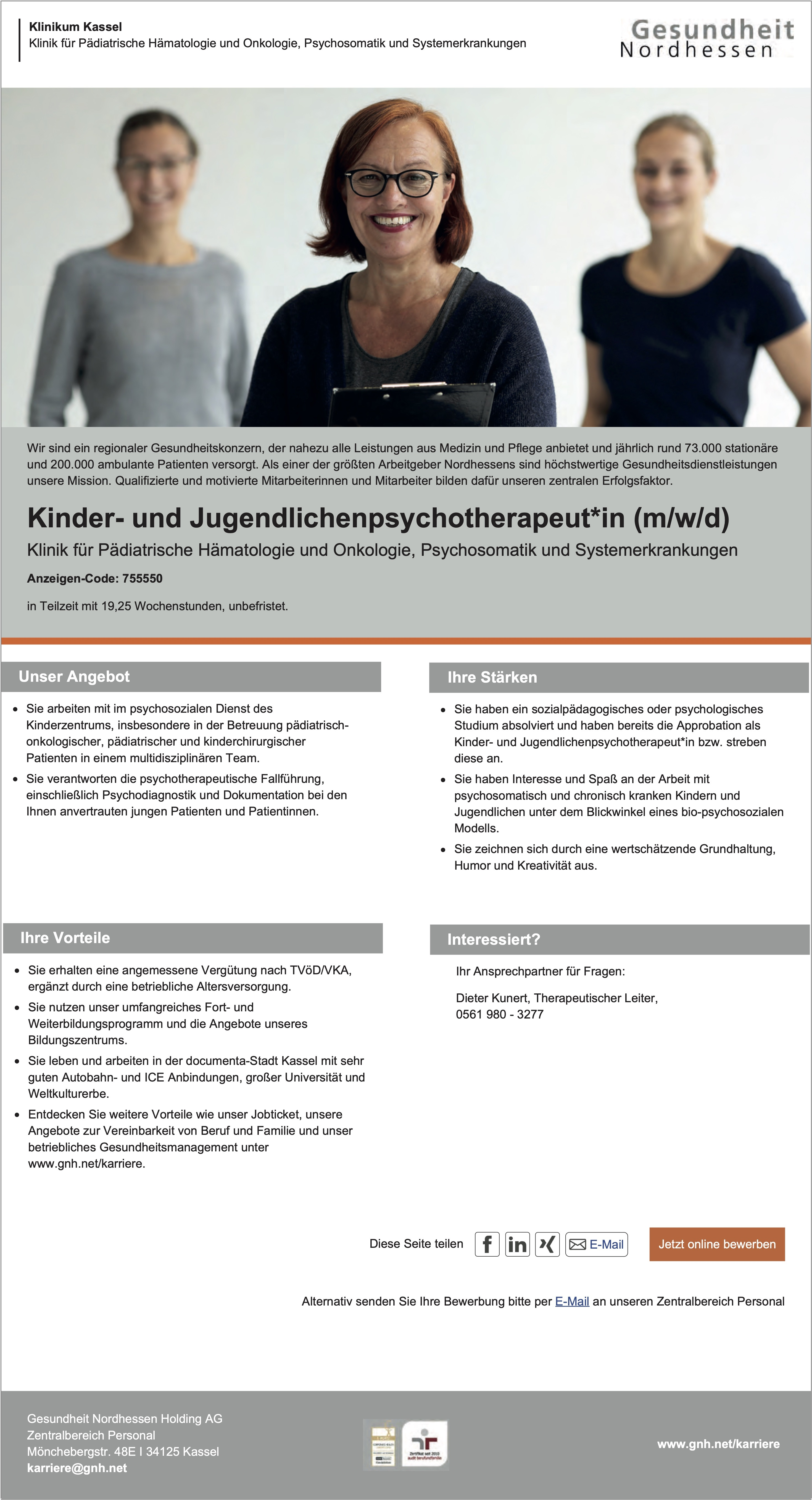 Kinder- und Jugendlichenpsychotherapeut*in (m/w/d)