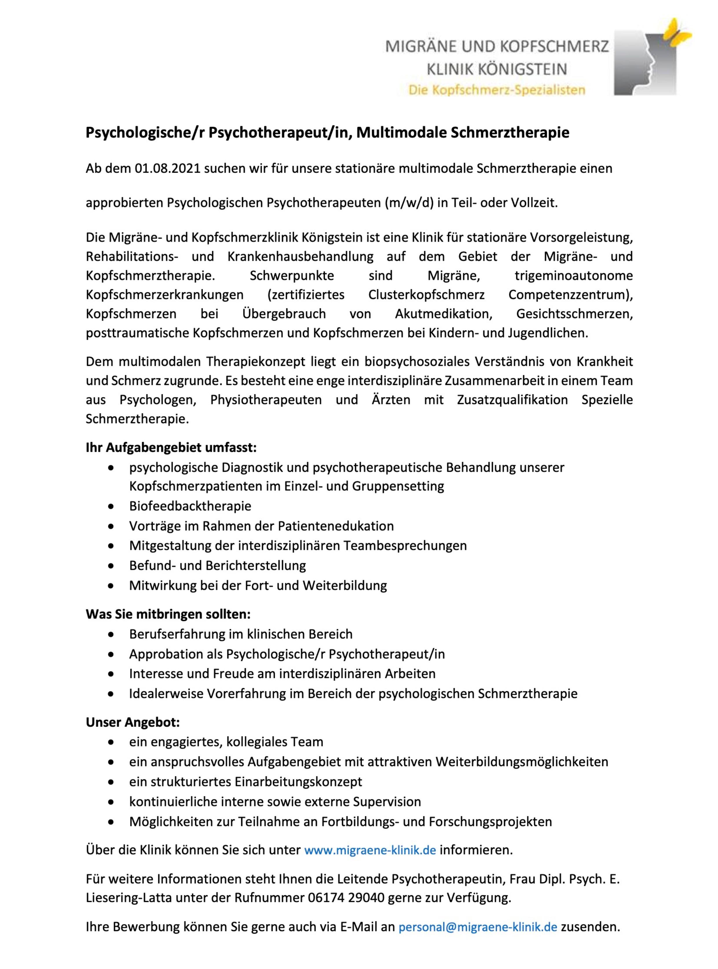 Psychologische/r Psychotherapeut/in (w/m/d), Multimodale Schmerztherapie