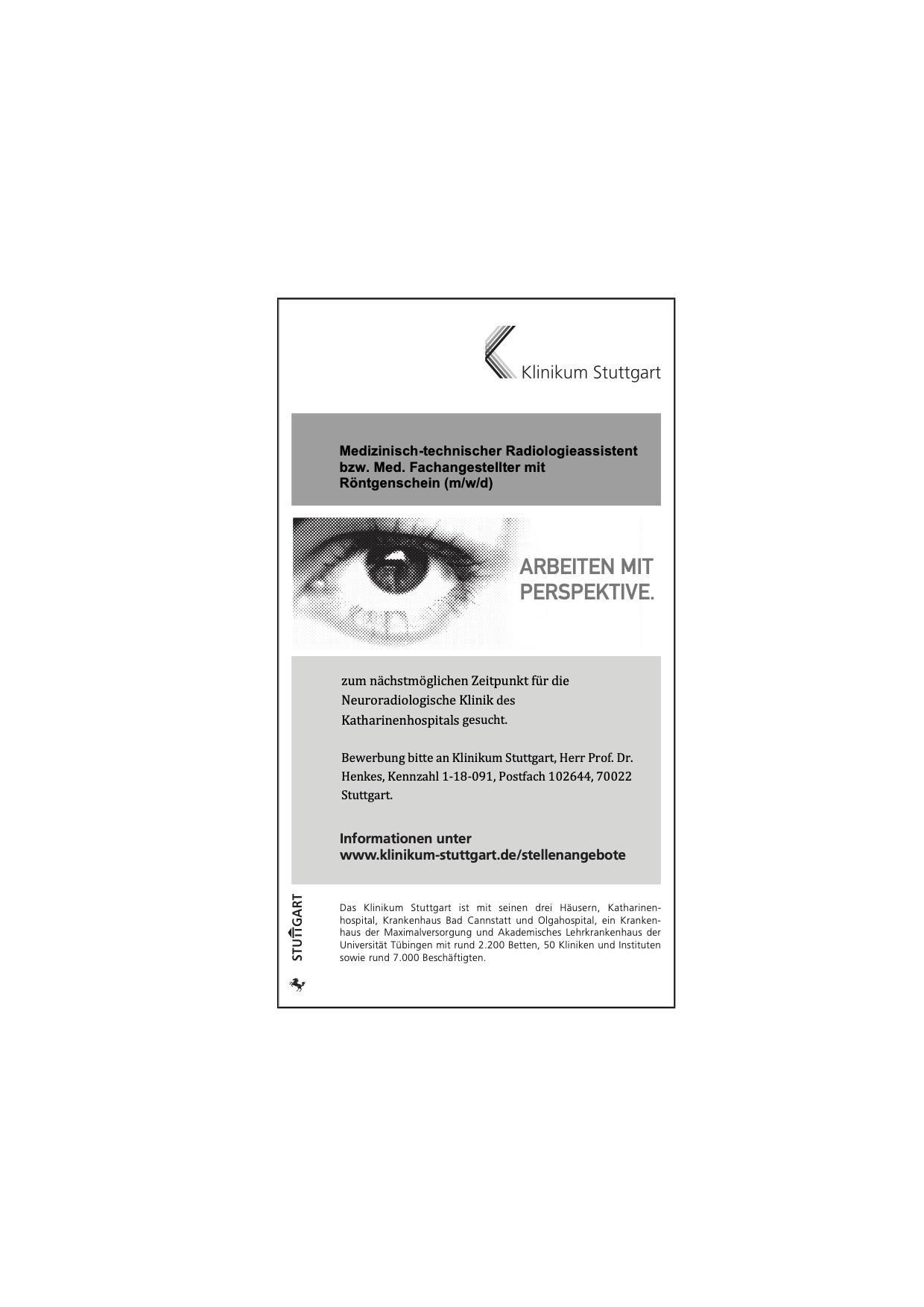 Medizinisch-technischer Radiologieassistent bzw. Med. Fachangestellter mit Röntgenschein (m/w/d)