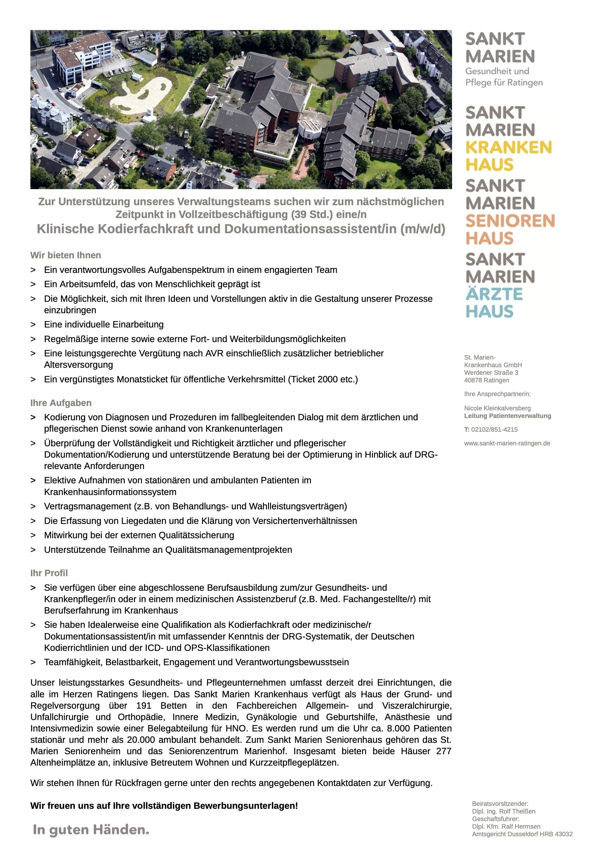 Klinische Kodierfachkraft und Dokumentationsassistent/in (m/w/d)