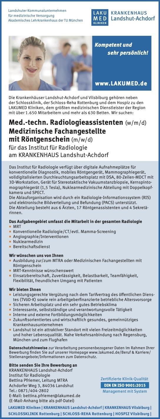 Med.-techn. Radiologieassistenten (w/m/d) Medizinische Fachangestellte mit Röntgenschein (m/w/d)