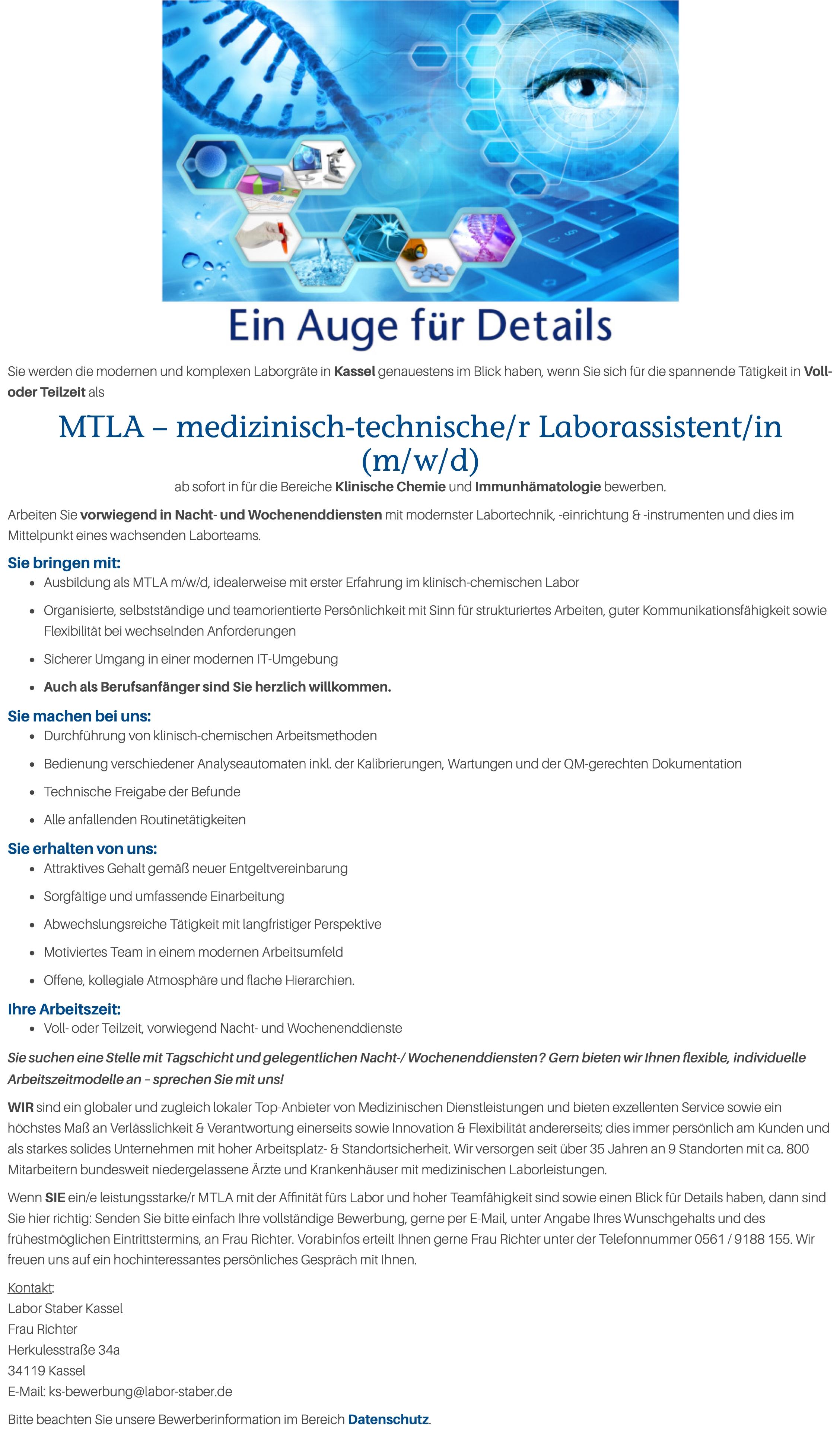 MTLA – medizinisch-technische/r Laborassistent/in (m/w/d)