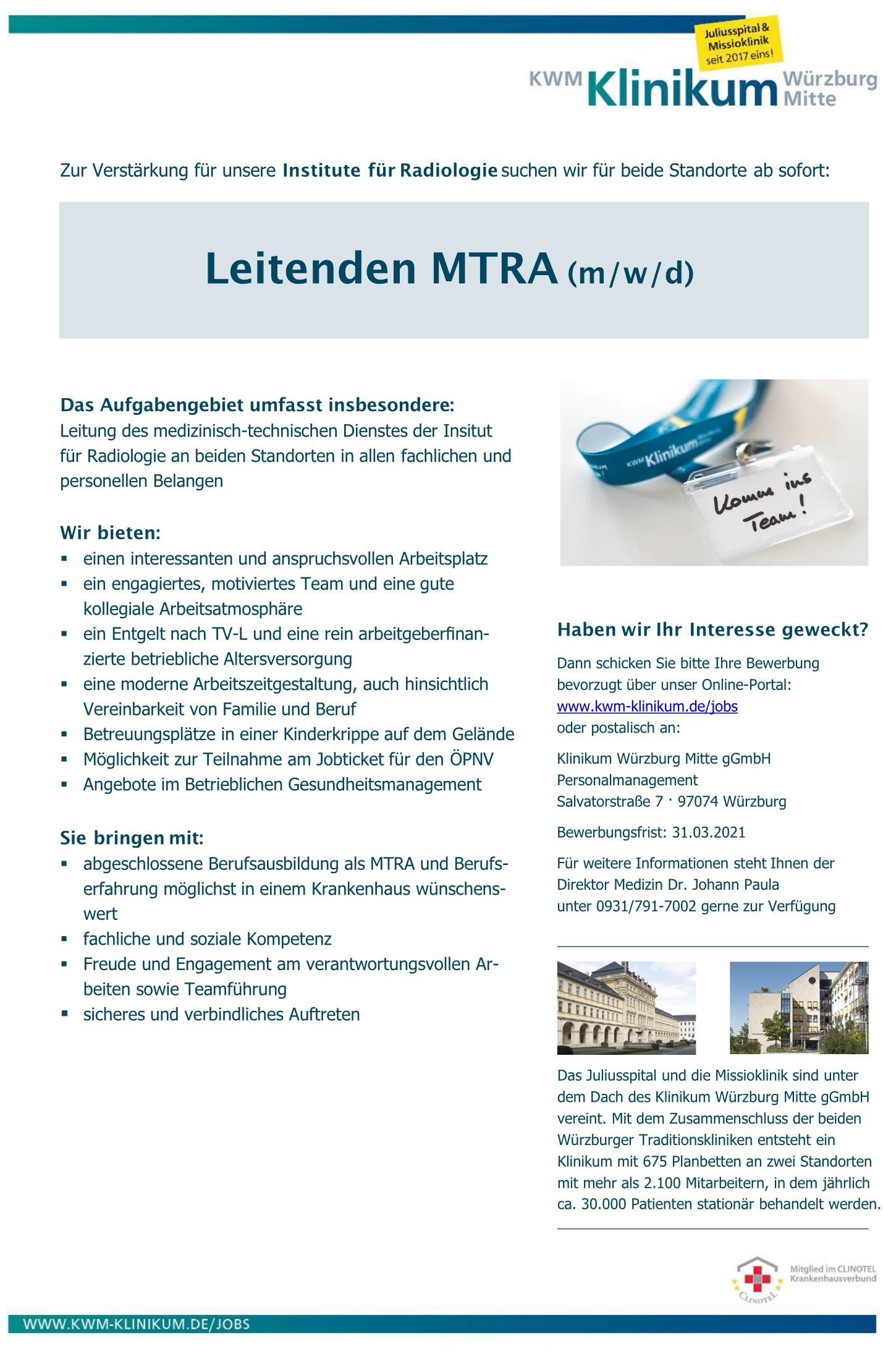 Leitender MTRA (m/w/d)