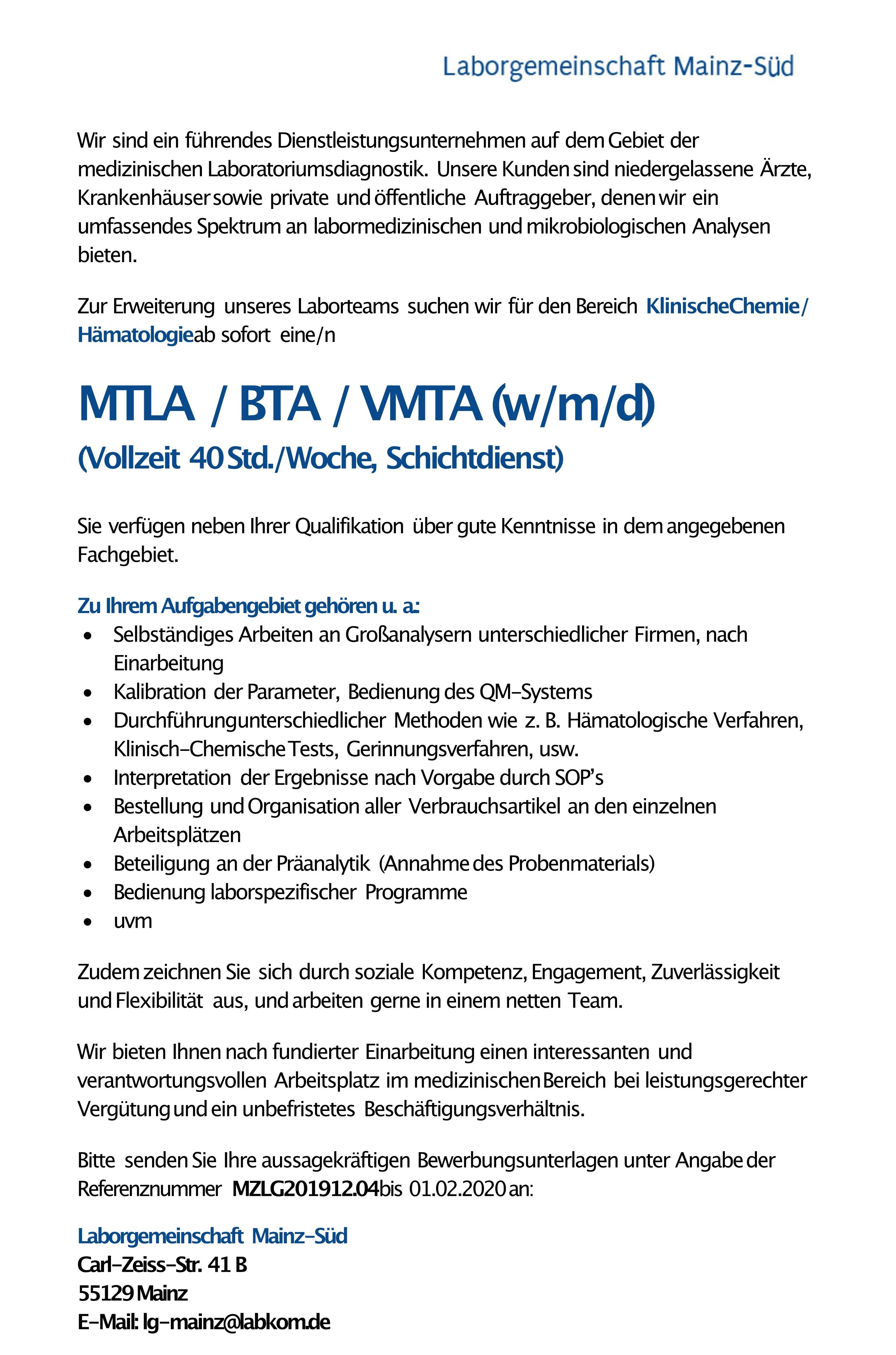 MTLA / BTA / VMTA (w/m/d)
