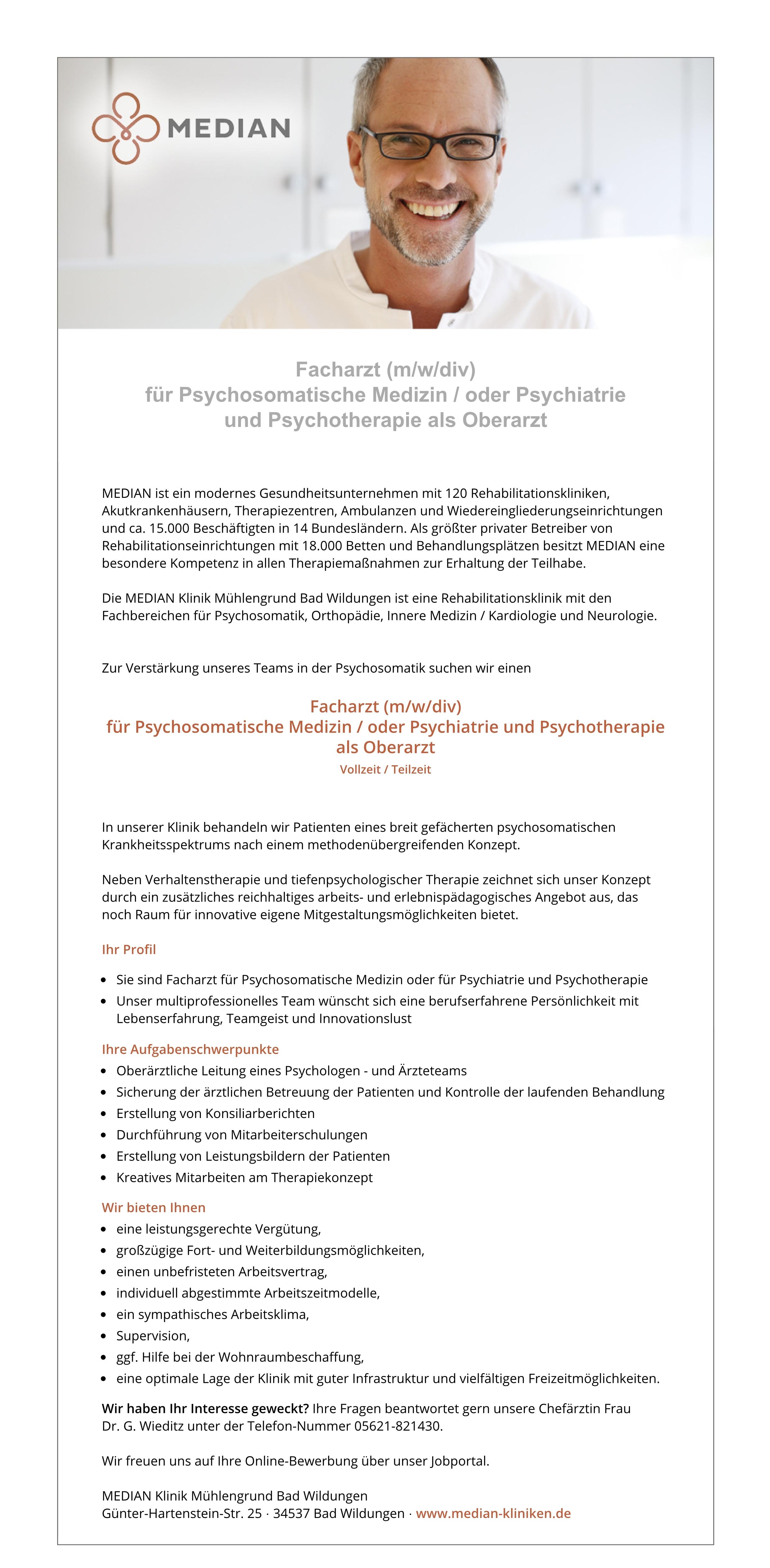 Facharzt (m/w/div) für Psychosomatische Medizin / oder Psychiatrie und Psychotherapie als Oberarzt