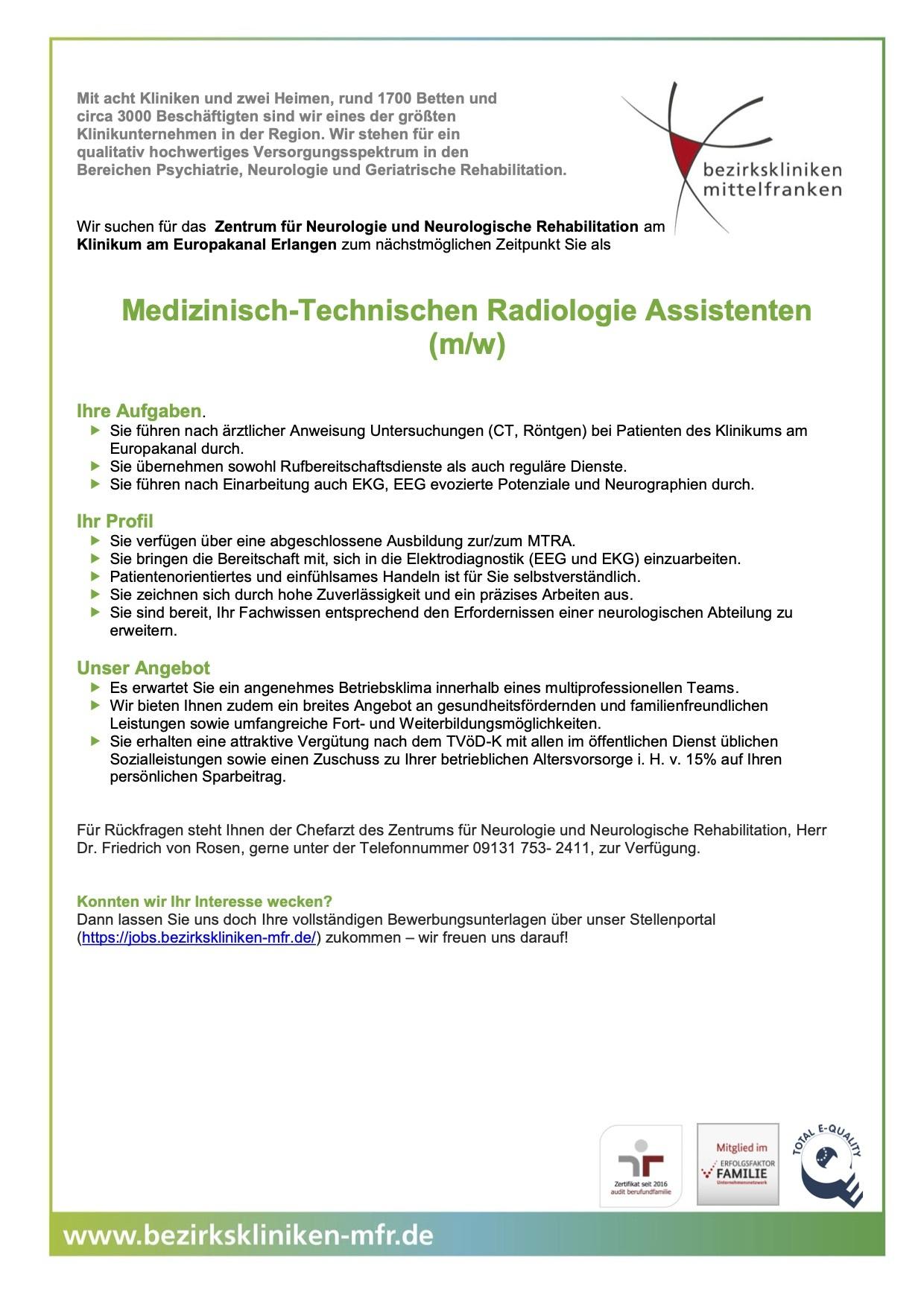 Medizinisch-Technischen Radiologie Assistenten (m/w)