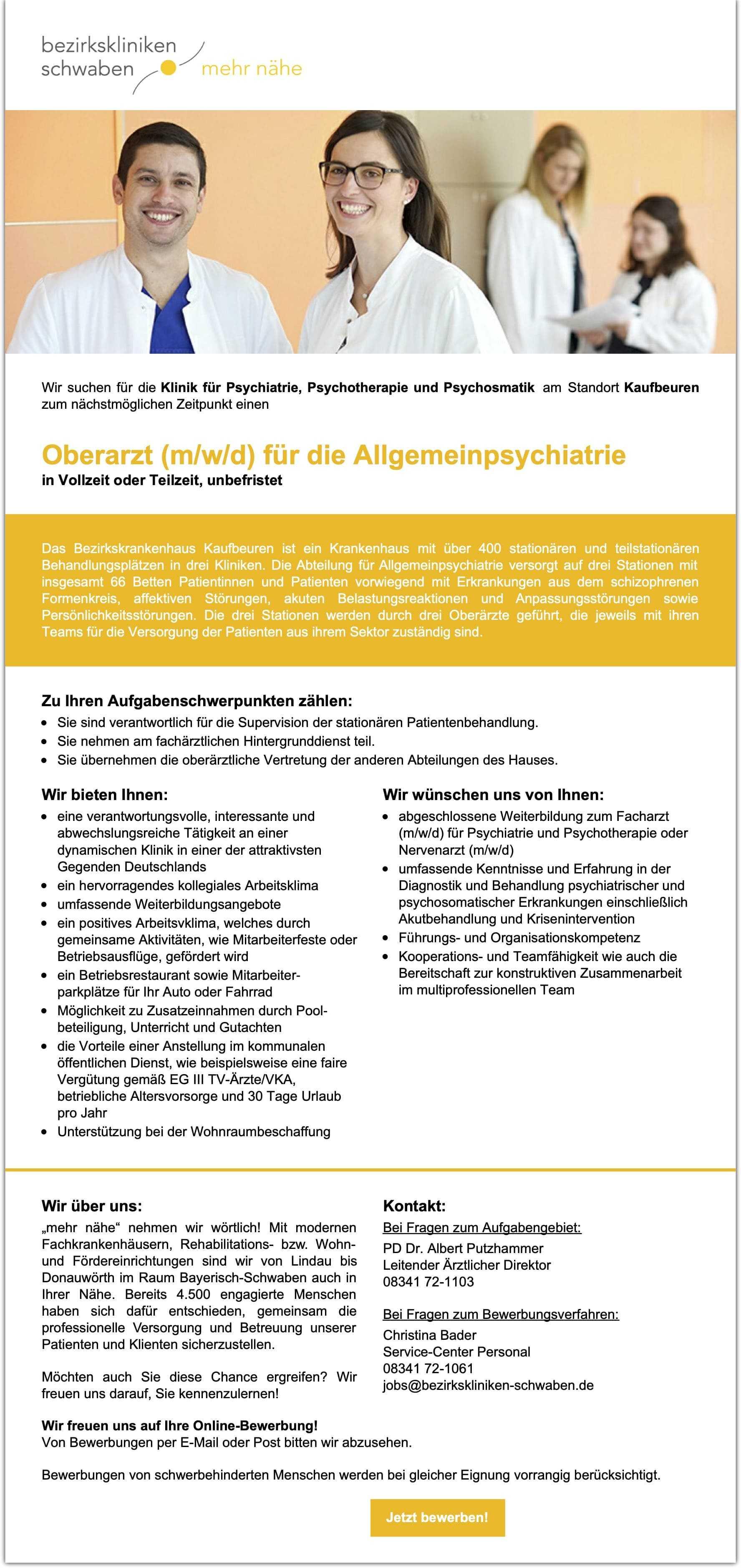 Oberarzt (m/w/d) für die Allgemeinpsychiatrie