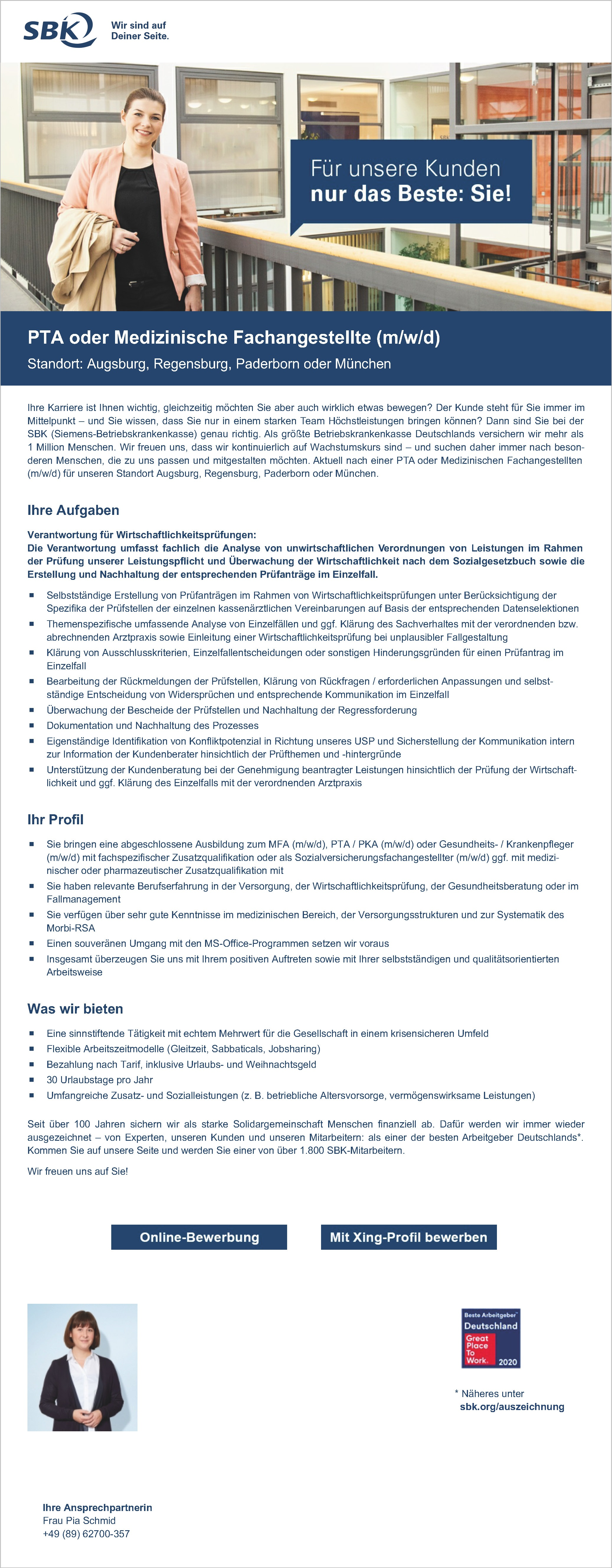 PTA oder Medizinische Fachangestellte (m/w/d) Standort: Augsburg, Regensburg, Paderborn oder München