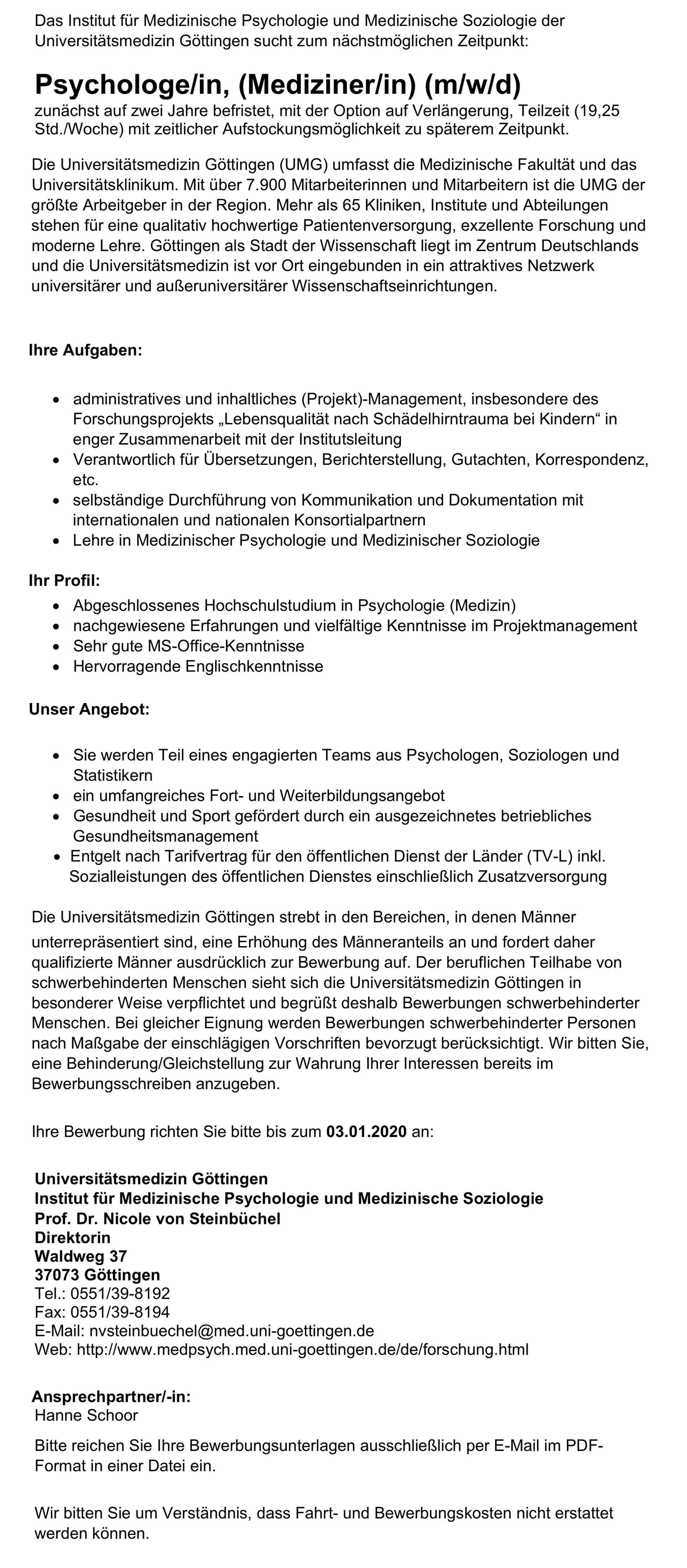 Psychologe/in, (Mediziner/in) (m/w/d)