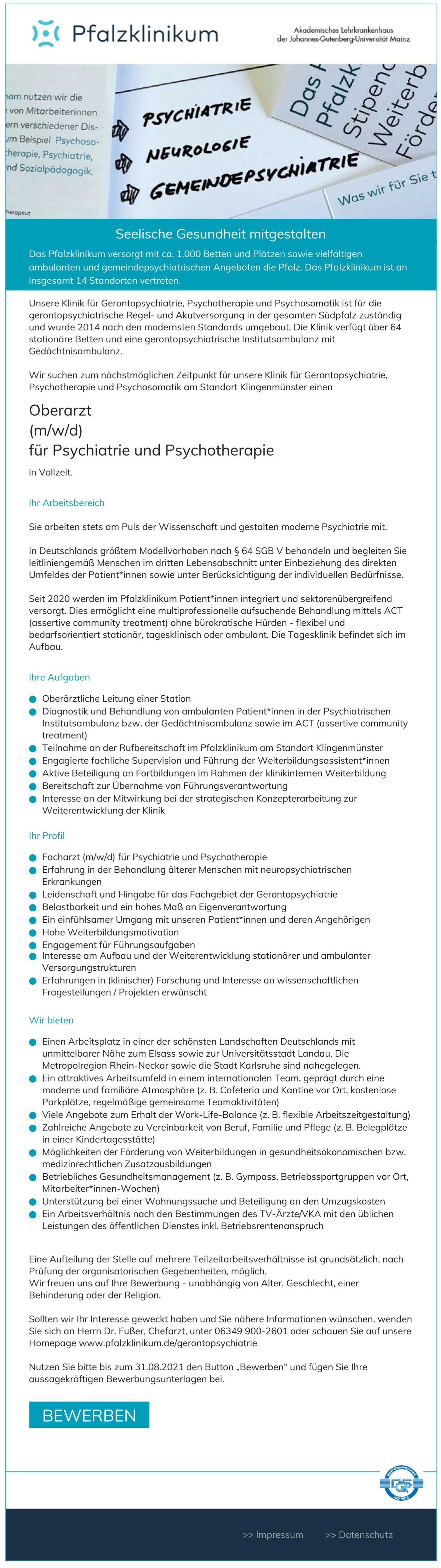 Oberarzt (m/w/d) für Psychiatrie und Psychotherapie