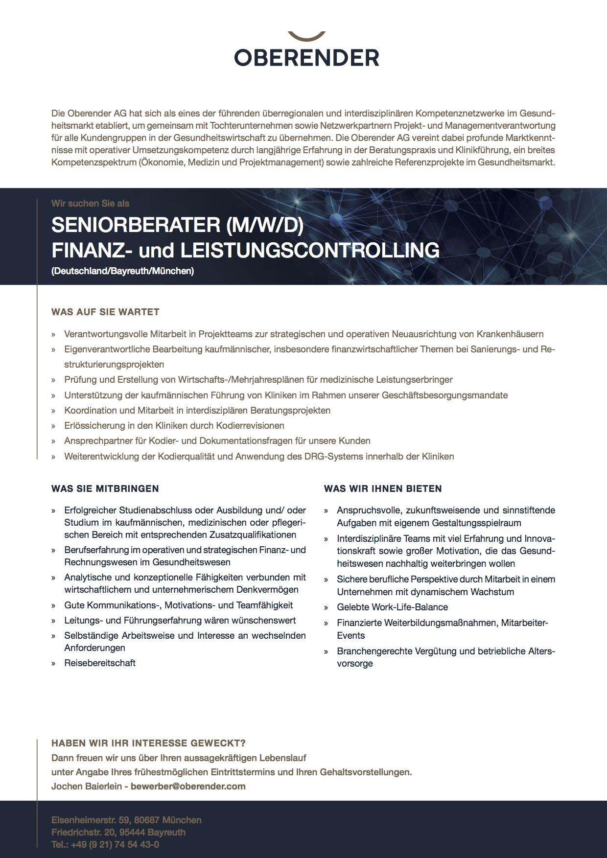 SENIORBERATER (M/W/D) FINANZ- und LEISTUNGSCONTROLLING