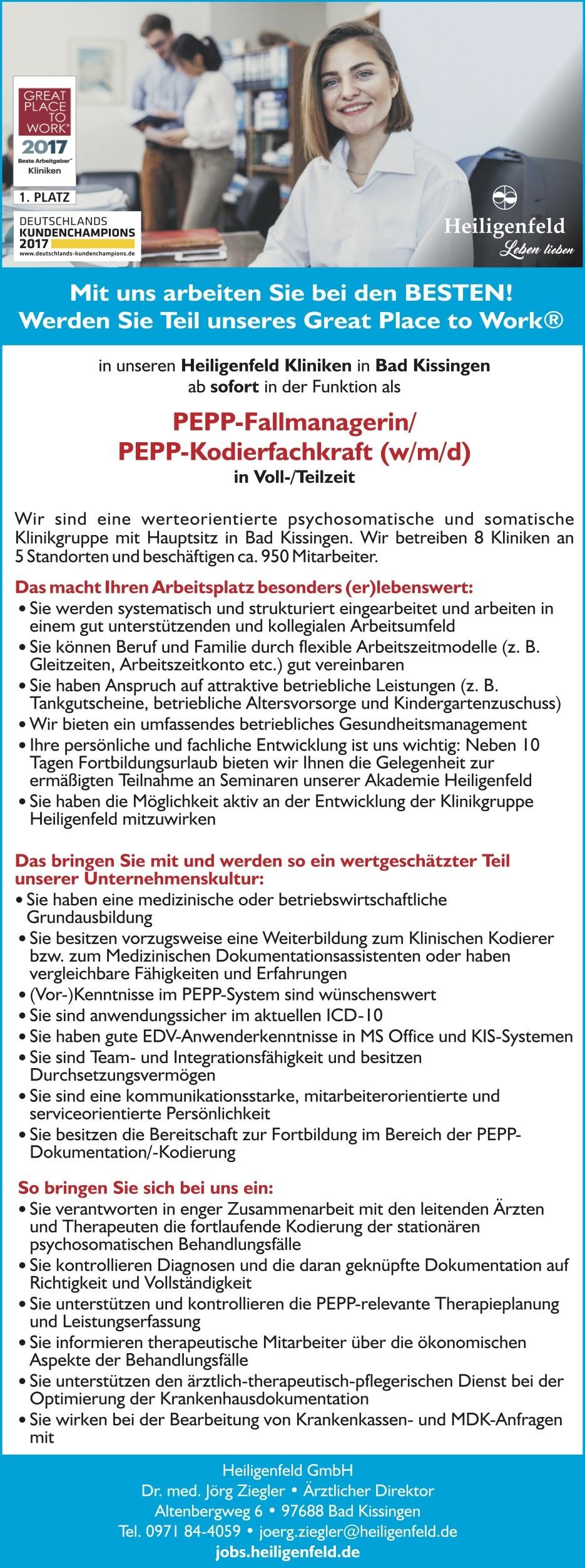 PEPP-Fallmanagerin/PEPP-Kodierfachkraft (w/m/d)