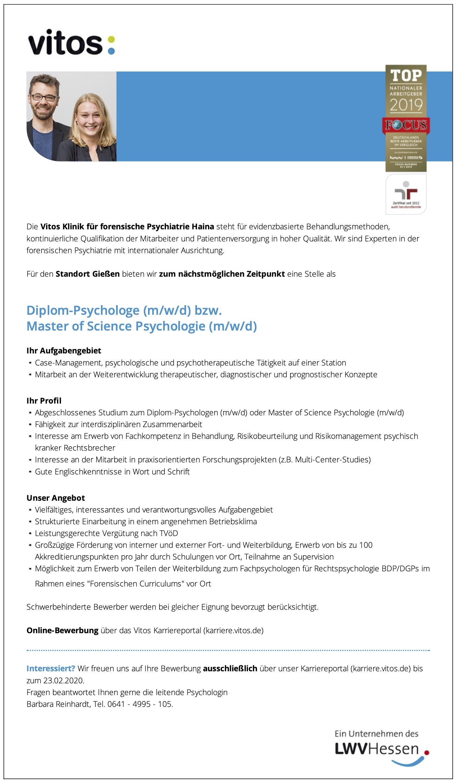 Diplom-Psychologe (m/w/d) bzw. Master of Science Psychologie (m/w/d)