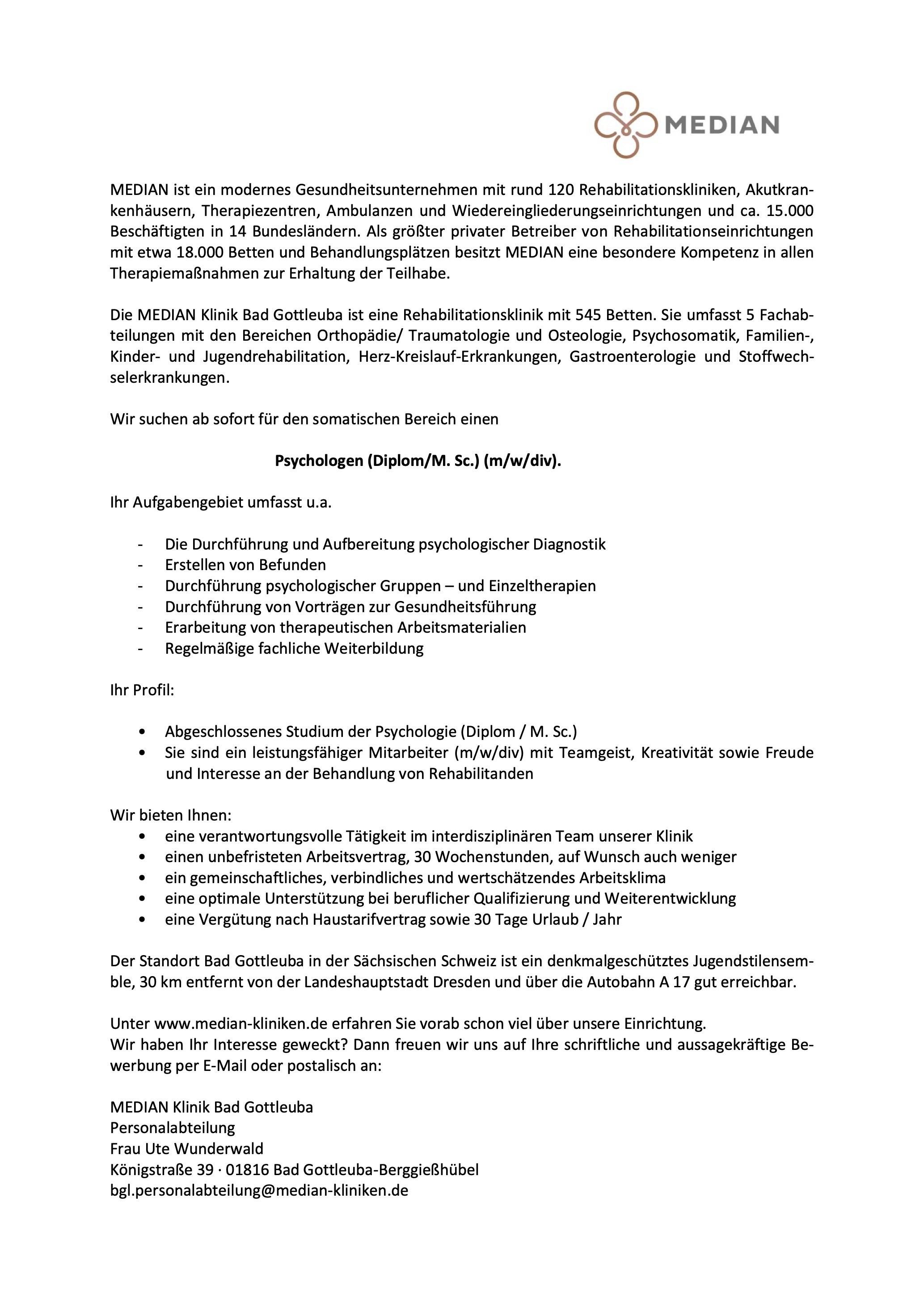 Psychologen (Diplom/M. Sc.) (m/w/div)